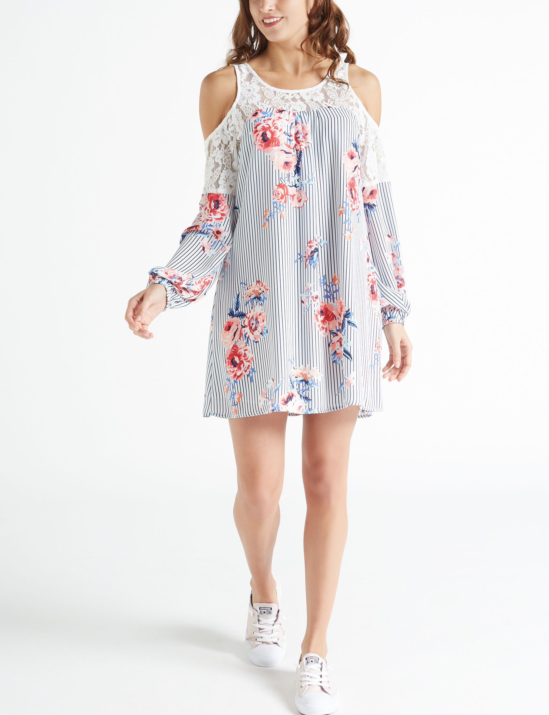 Trixxi Ivory/Blue Everyday & Casual Shift Dresses