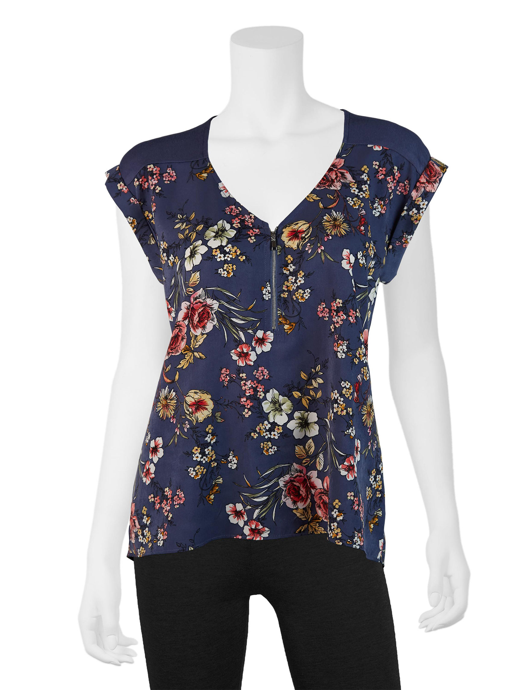 A. Byer Navy Floral Shirts & Blouses