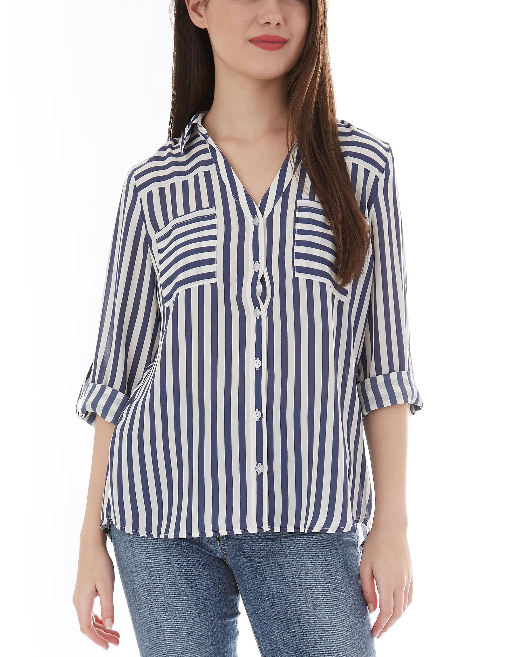 A. Byer White / Blue Shirts & Blouses