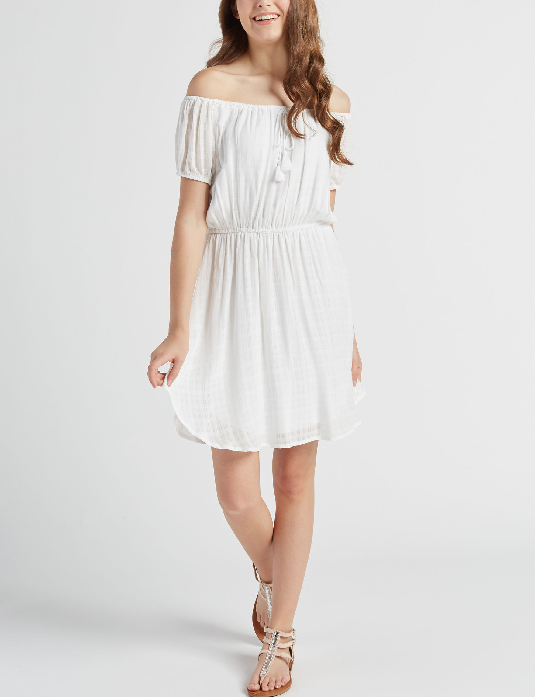 BeBop White Everyday & Casual Fit & Flare Dresses