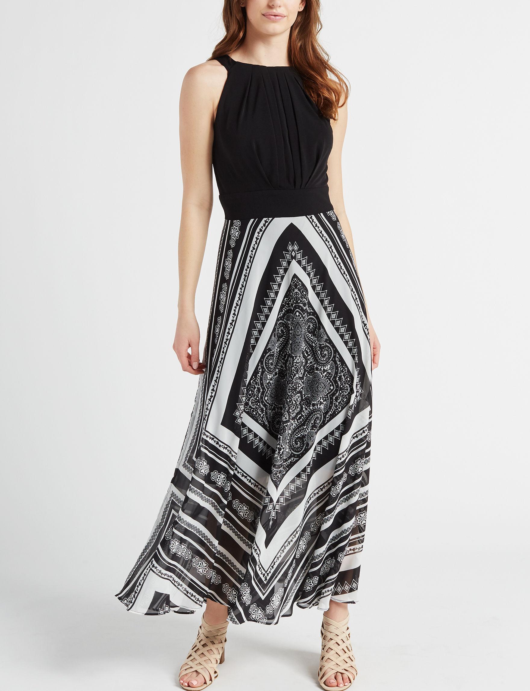 Sandra Darren Black White Everyday & Casual Maxi Dresses