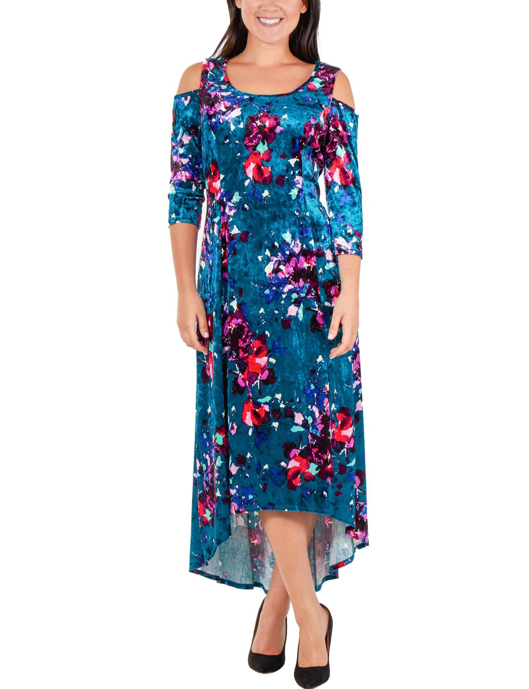 5a2d7304e41 NY Collection Women's Floral Velvet Cold-Shoulder Maxi Dress ...