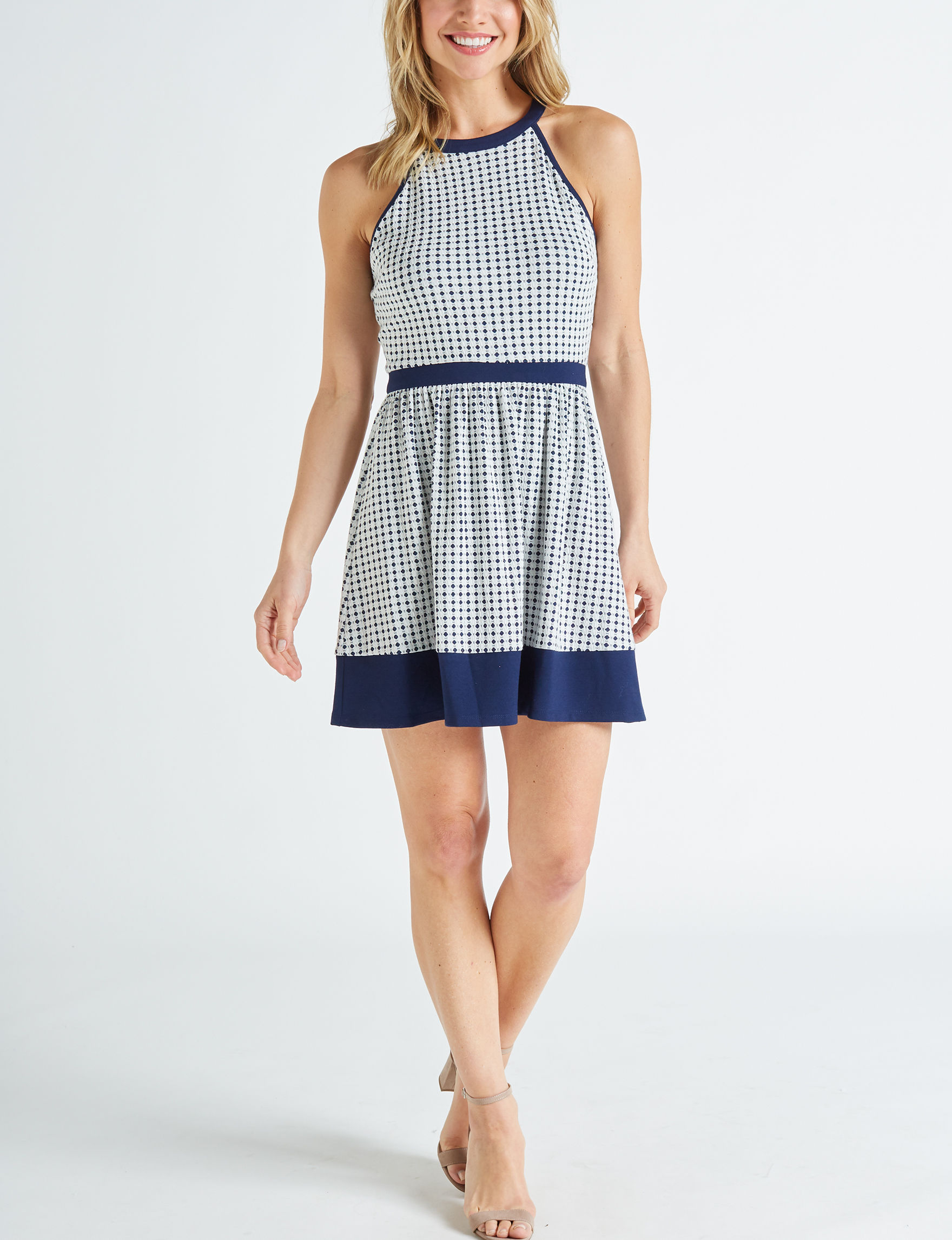 Speechless White / Navy Everyday & Casual Fit & Flare Dresses