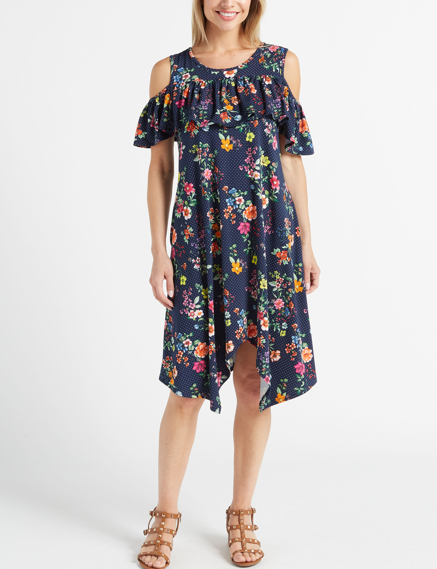 Nina Leonard Navy / Multi Everyday & Casual Shift Dresses