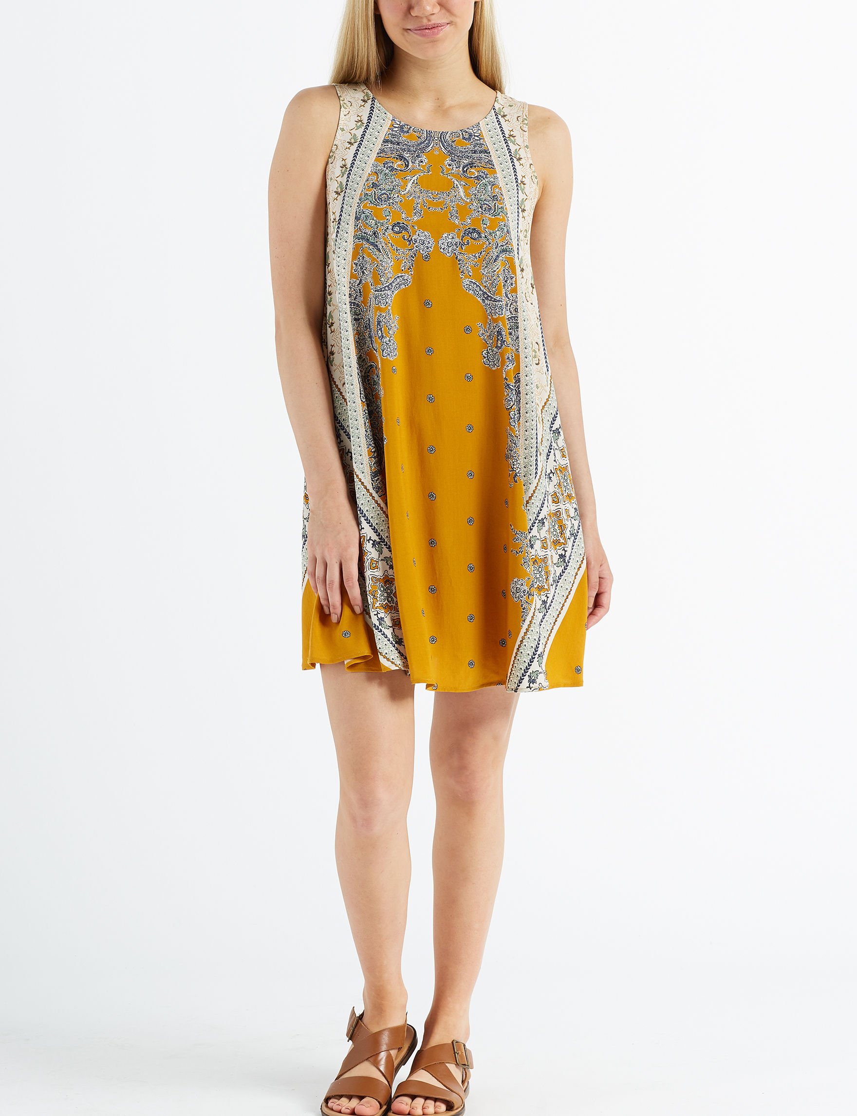 Taylor & Sage Mustard Everyday & Casual Shift Dresses