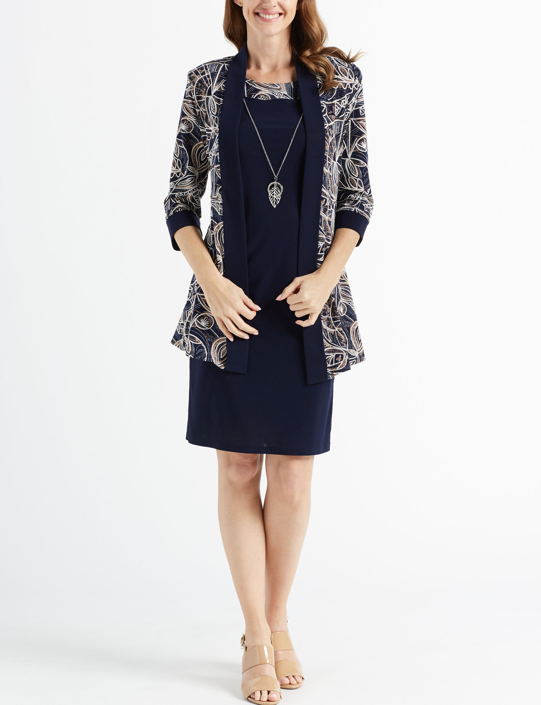 R & M Richards Navy Everyday & Casual Jacket Dresses