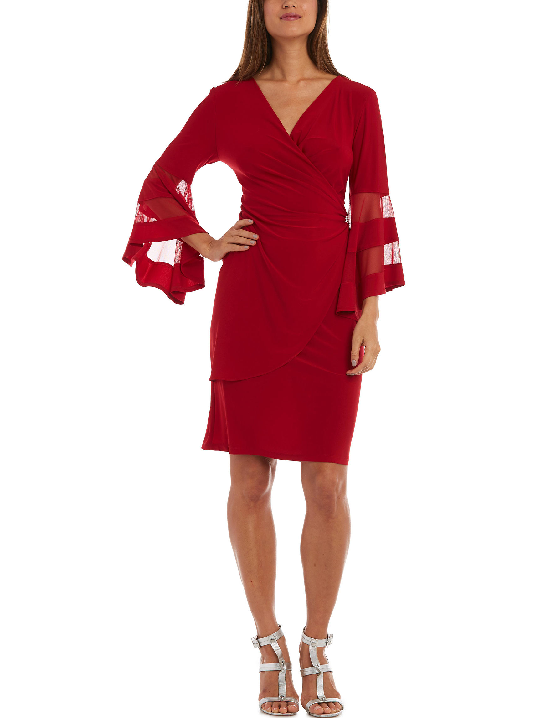 R & M Richards Red Cocktail & Party Evening & Formal A-line Dresses