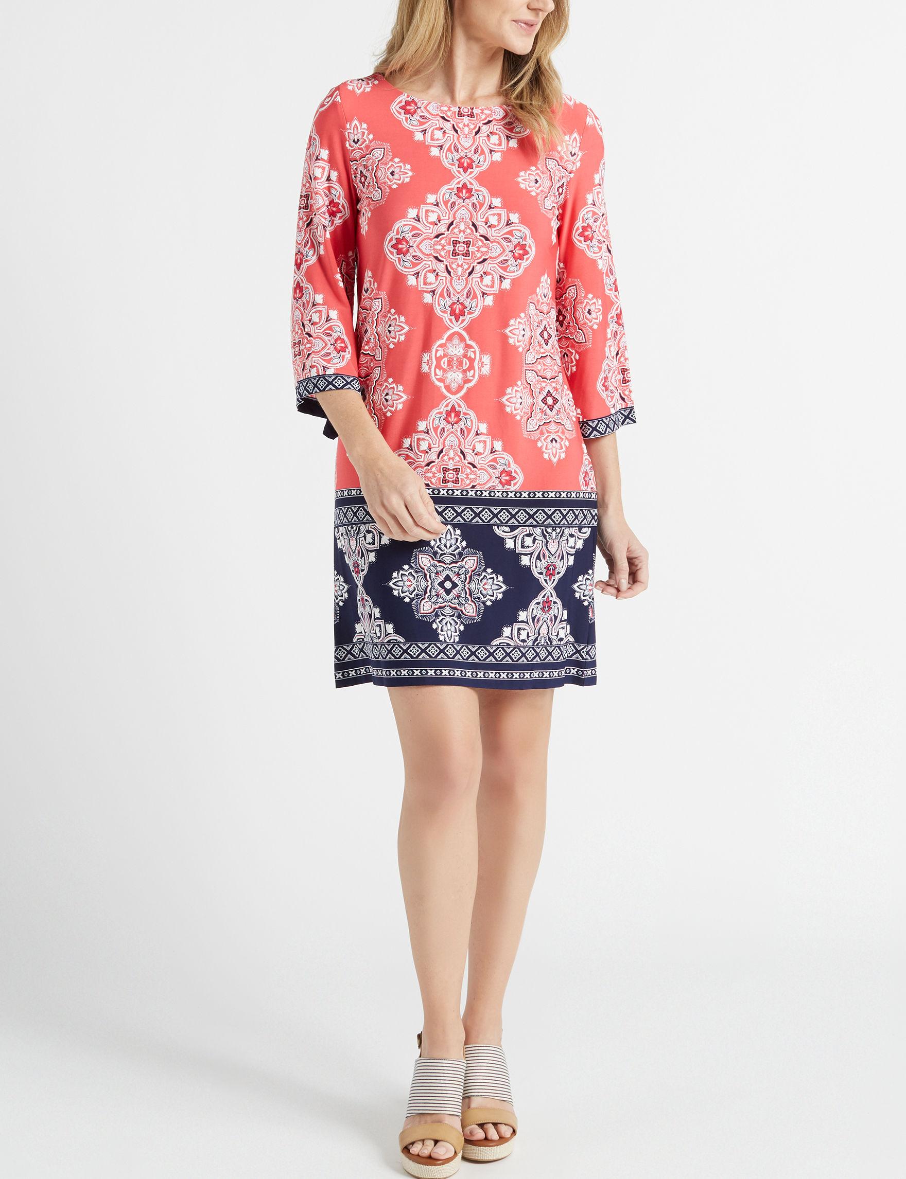 Sandra Darren Red / Multi Everyday & Casual Shift Dresses