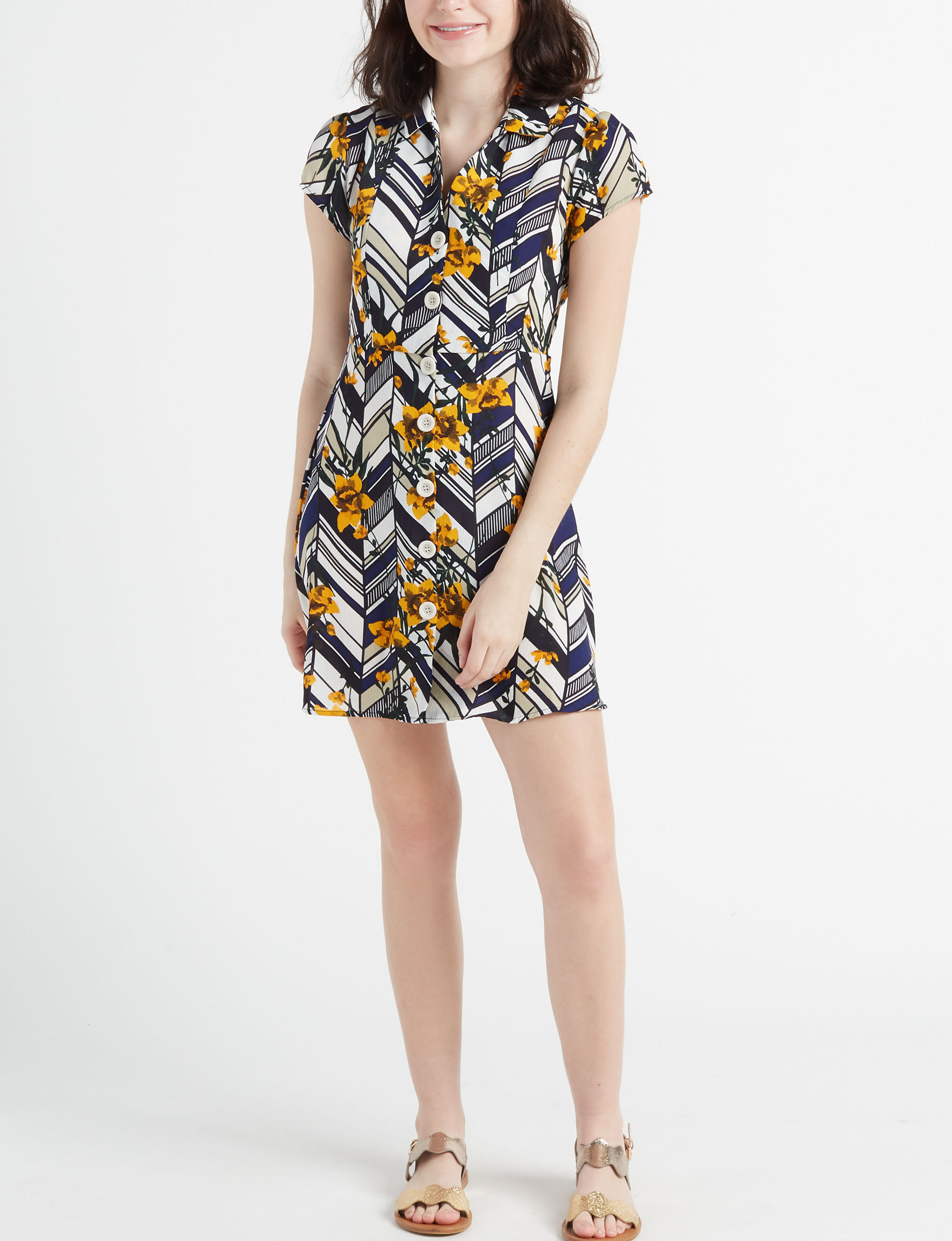 Charmed Hearts Navy / Yellow Everyday & Casual
