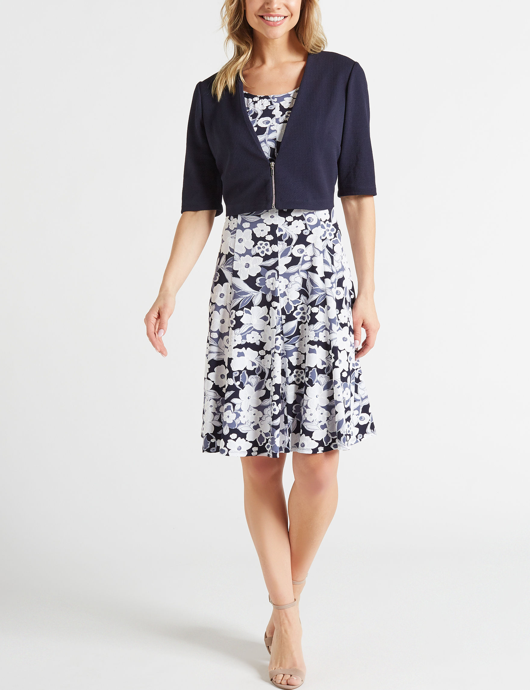 Perceptions Navy / White Everyday & Casual Jacket Dresses