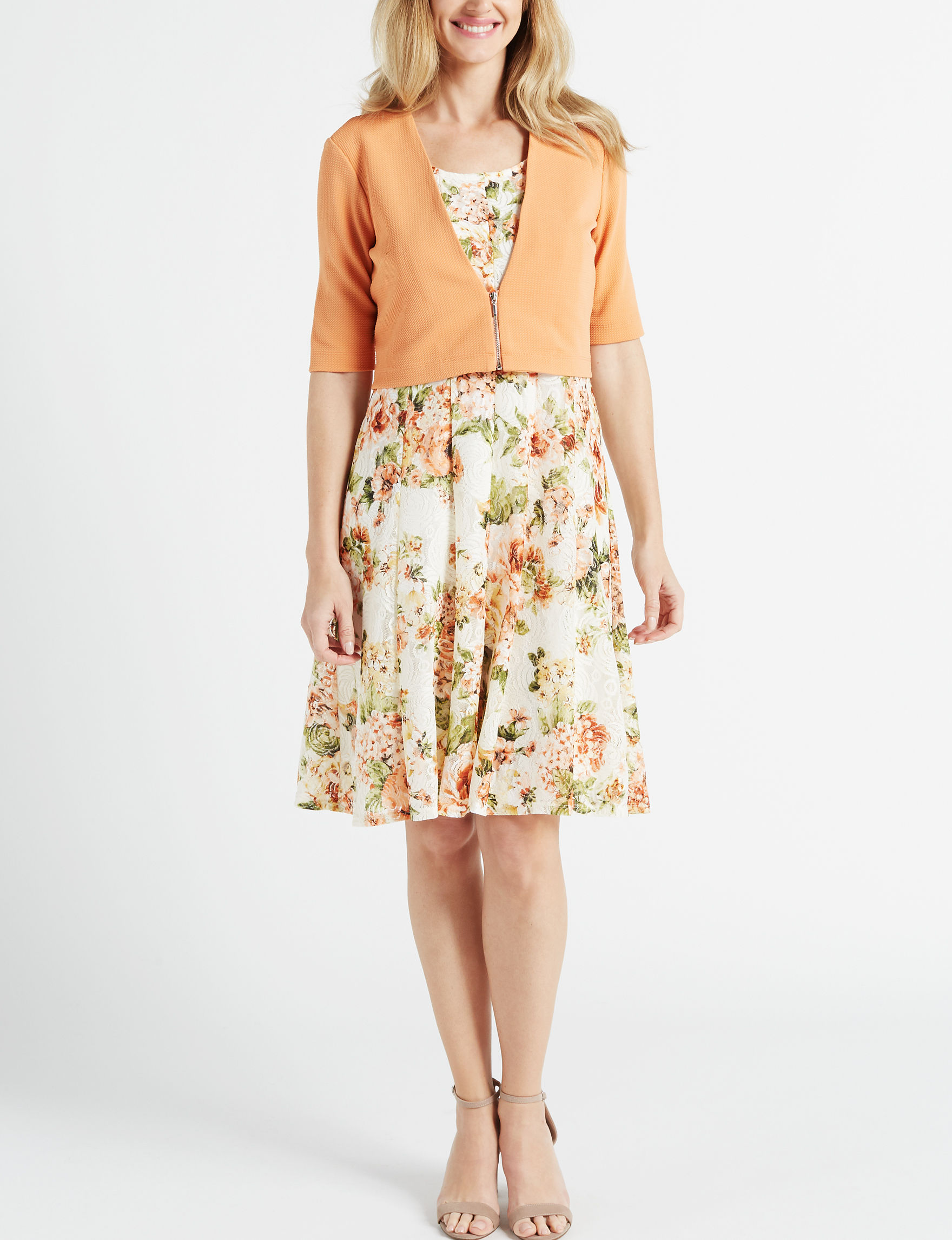 Perceptions Coral Multi Everyday & Casual Jacket Dresses