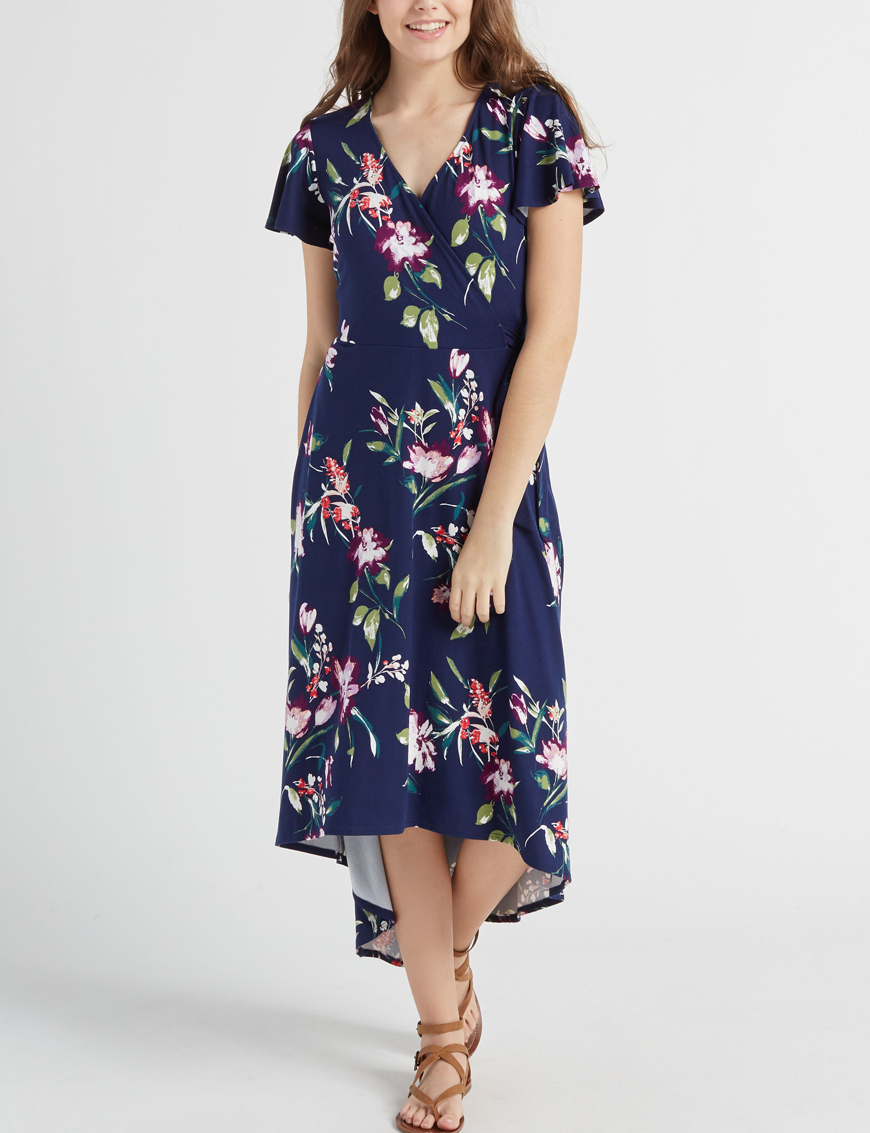 A. Byer Navy Everyday & Casual Fit & Flare Dresses