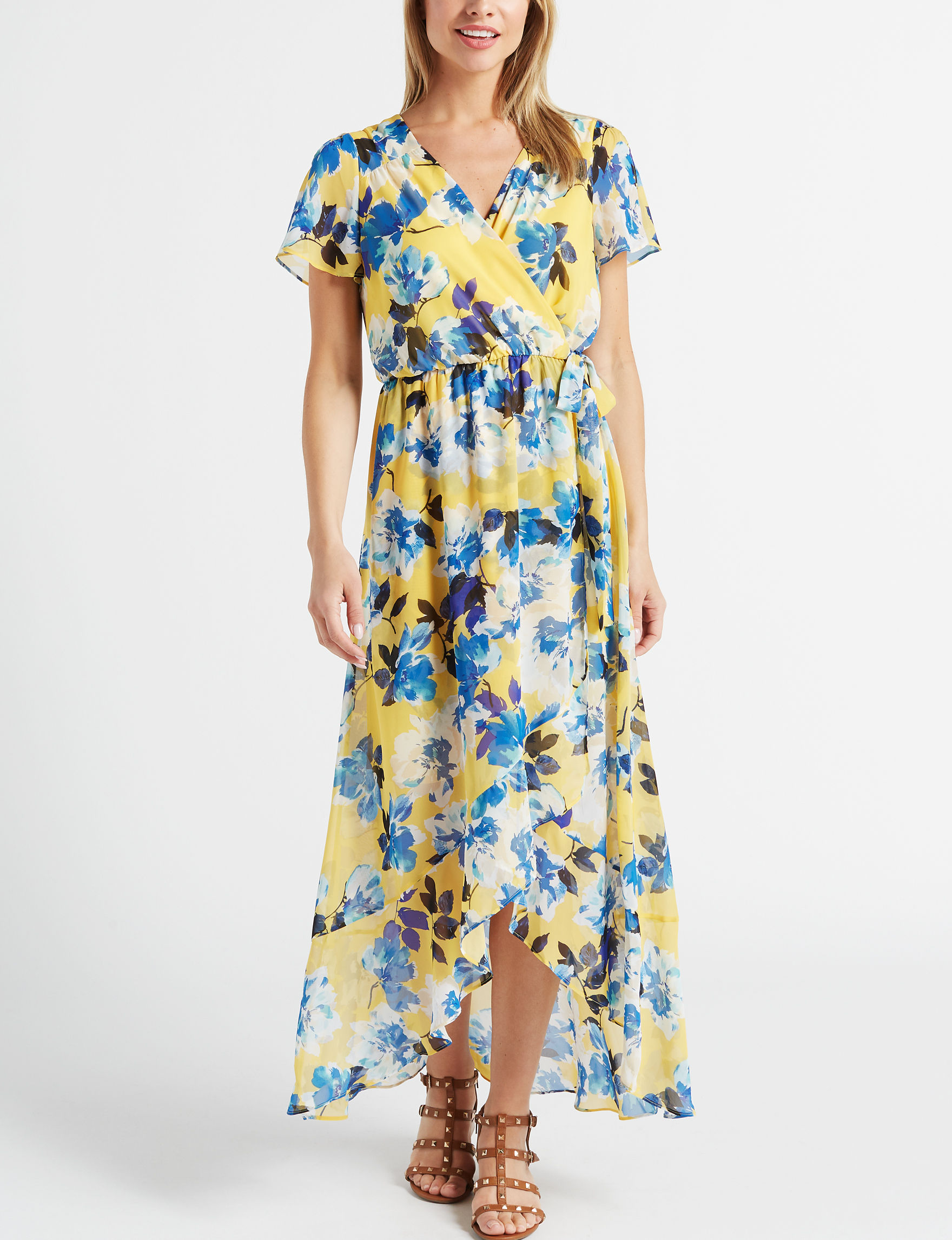 AGB Yellow Floral Everyday & Casual A-line Dresses