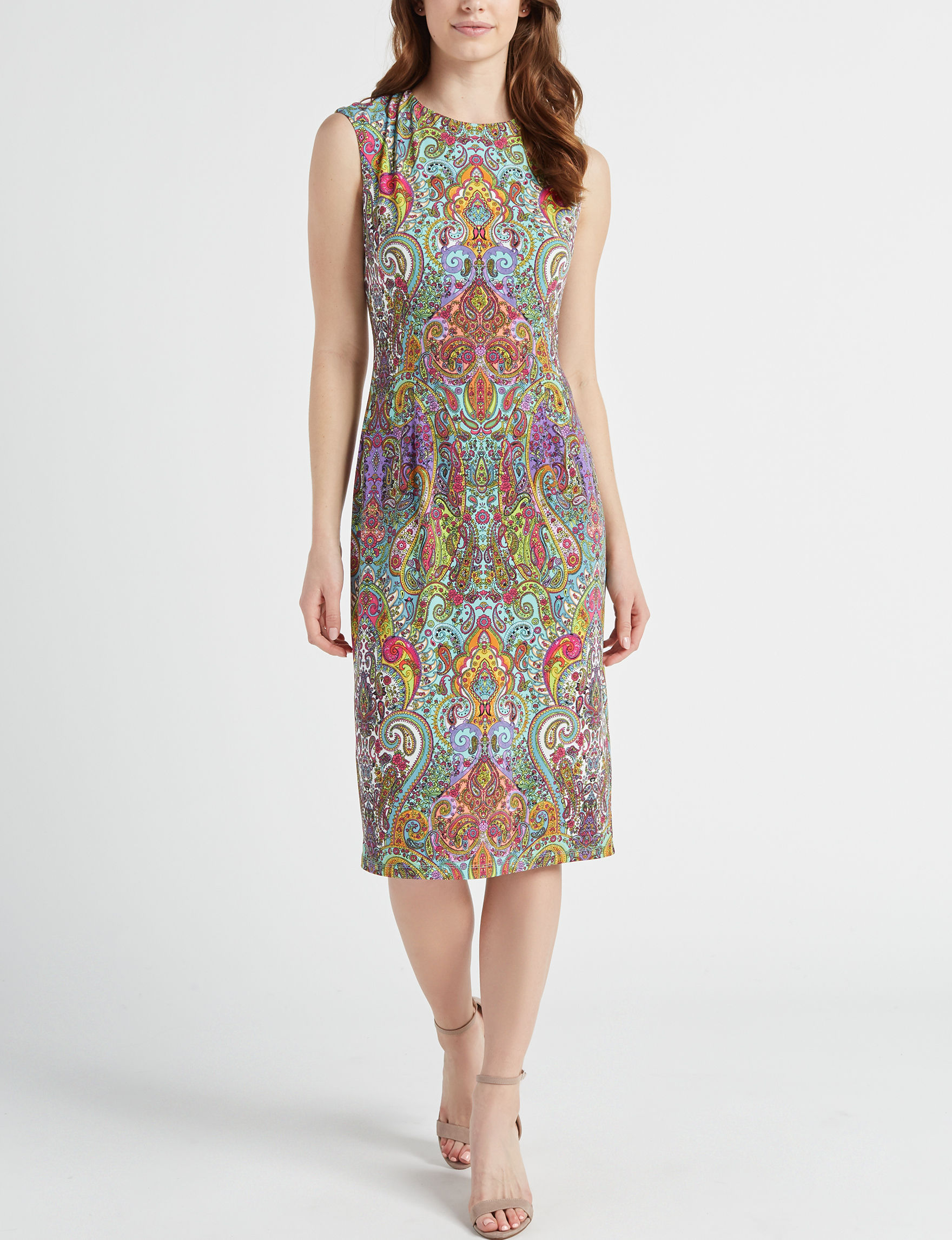 London Times Turquoise Everyday & Casual Sheath Dresses