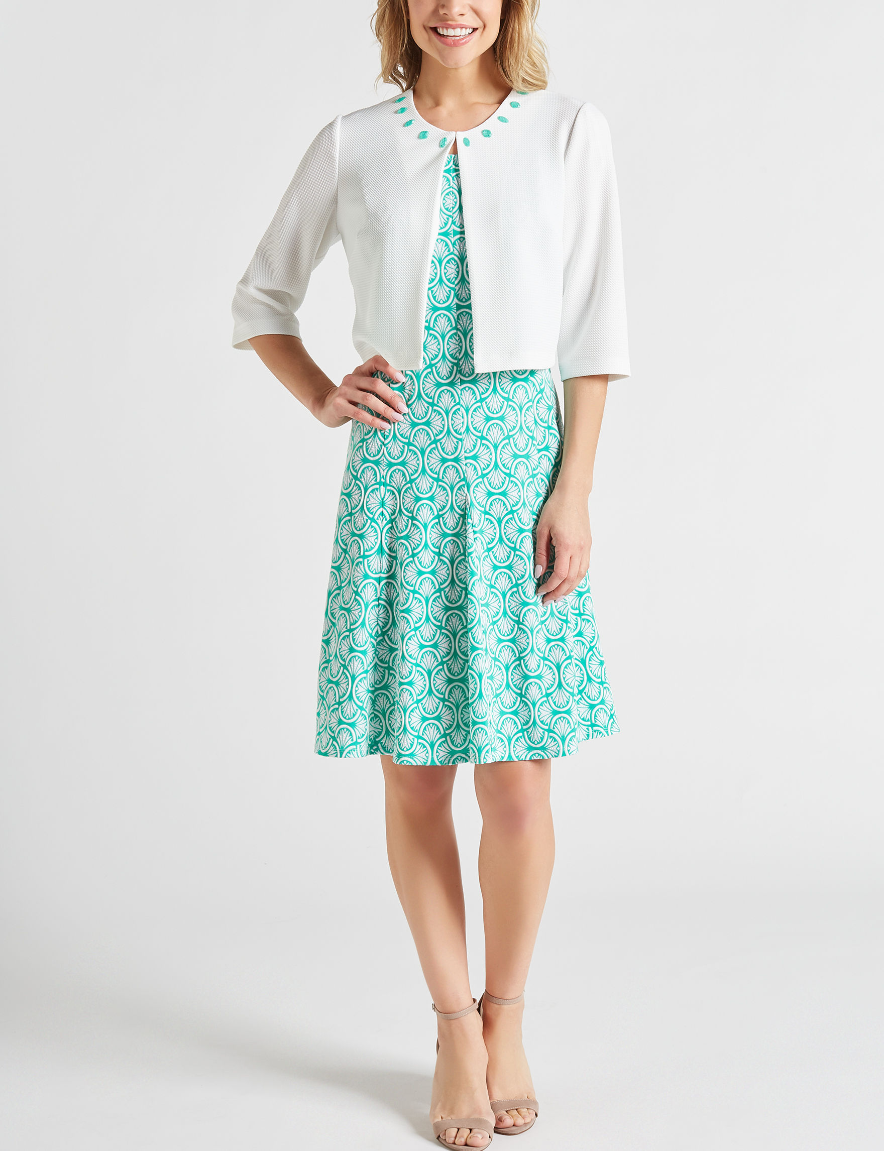 Perceptions Turquoise Everyday & Casual Jacket Dresses