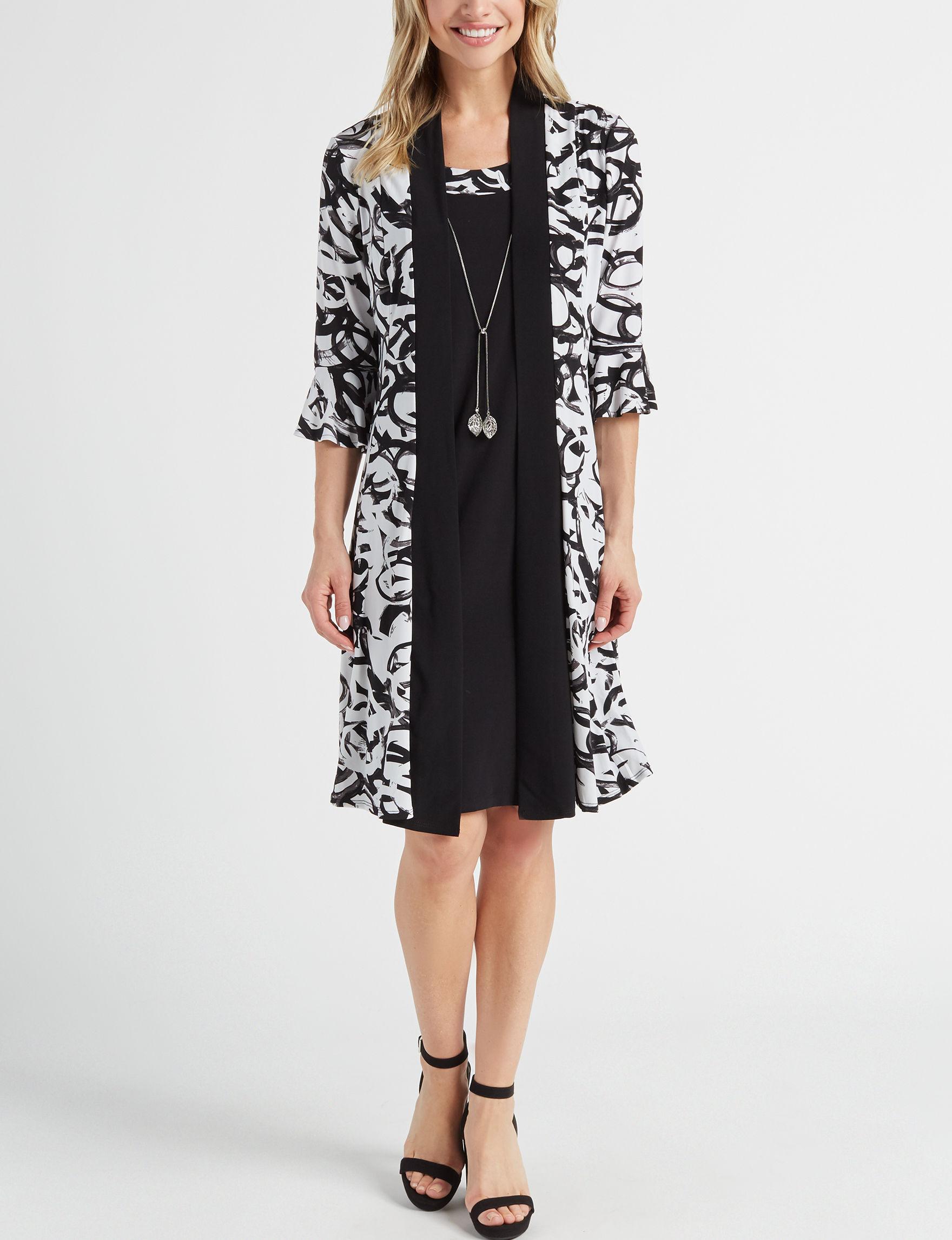R & M Richards White / Black Everyday & Casual Jacket Dresses