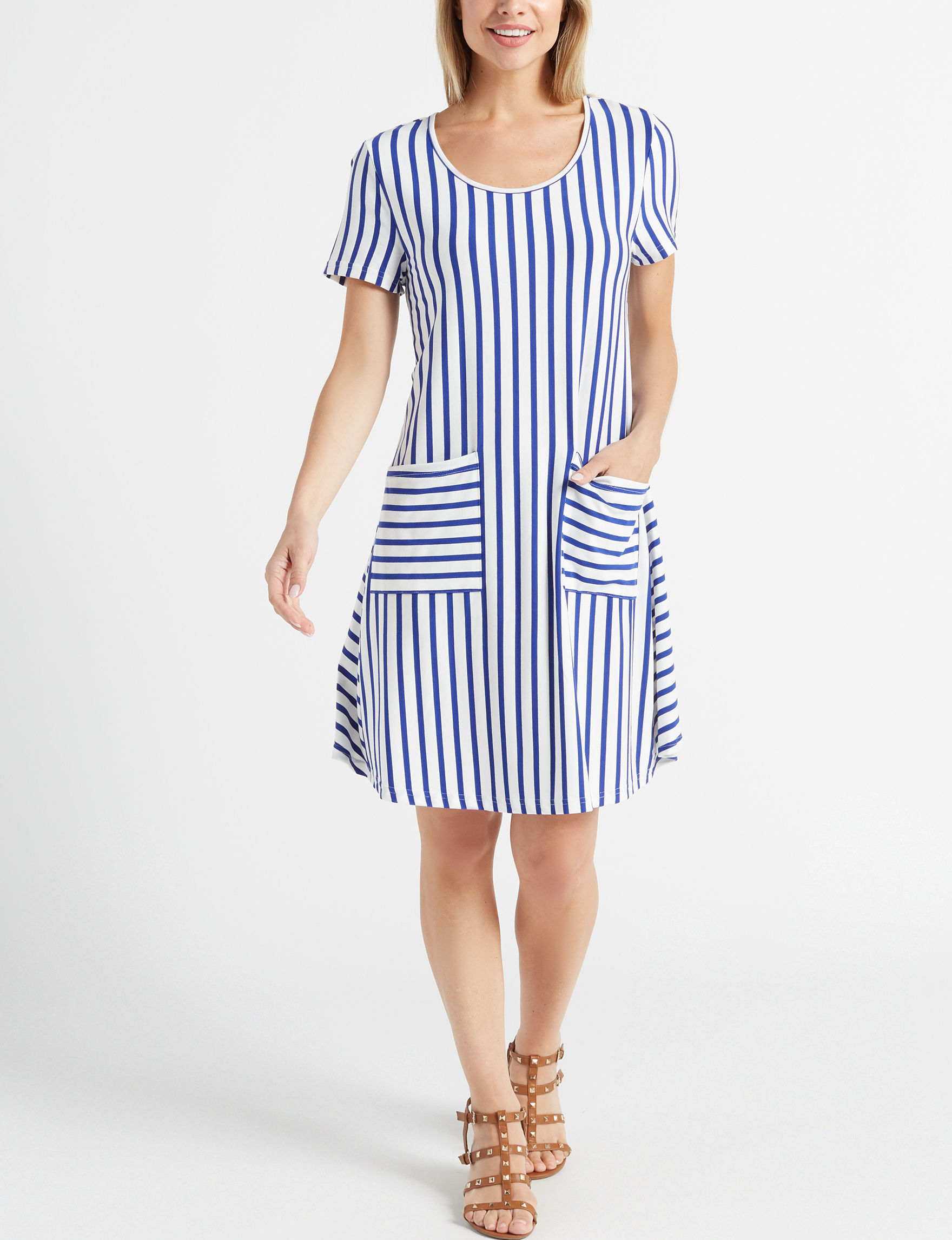 Nina Leonard White Stripe Everyday & Casual Shift Dresses