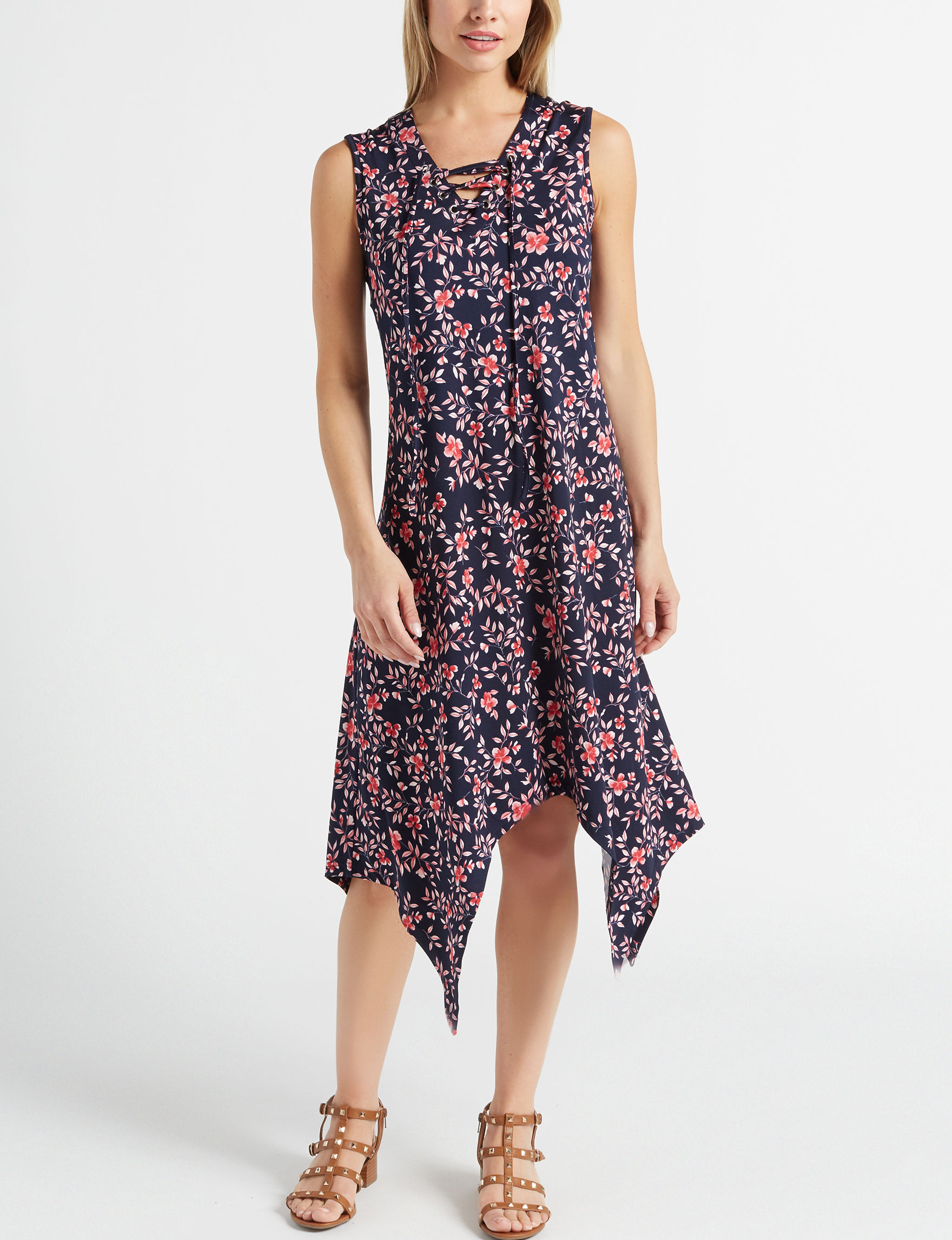 Nina Leonard Navy / Multi Everyday & Casual Shift Dresses