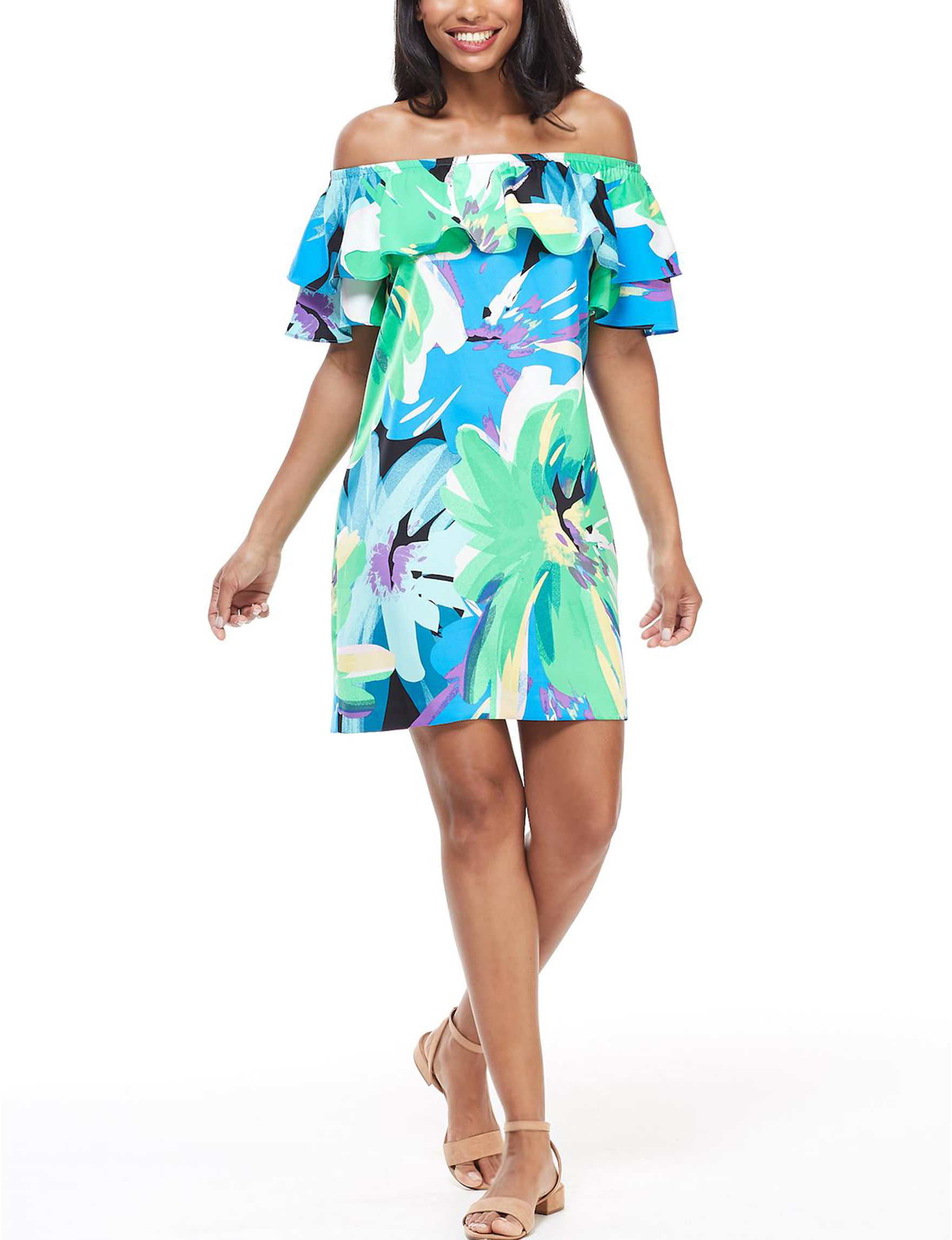London Times Green Everyday & Casual Shift Dresses