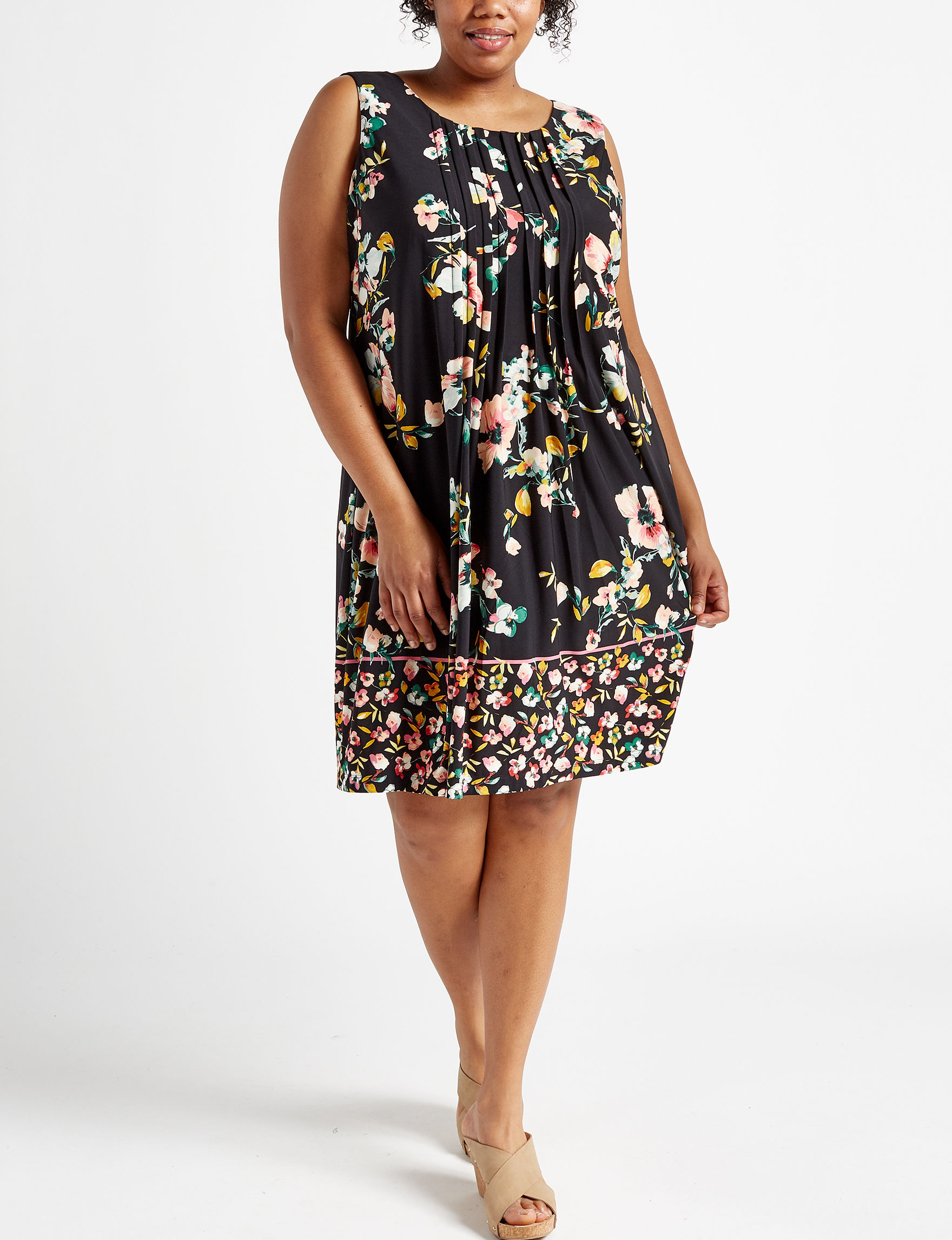 Perceptions Black Multi Everyday & Casual Shift Dresses
