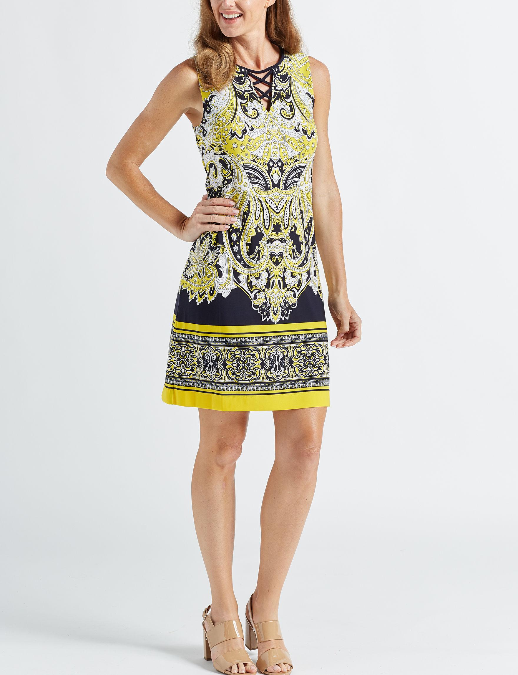 Sandra Darren Yellow Everyday & Casual Shift Dresses