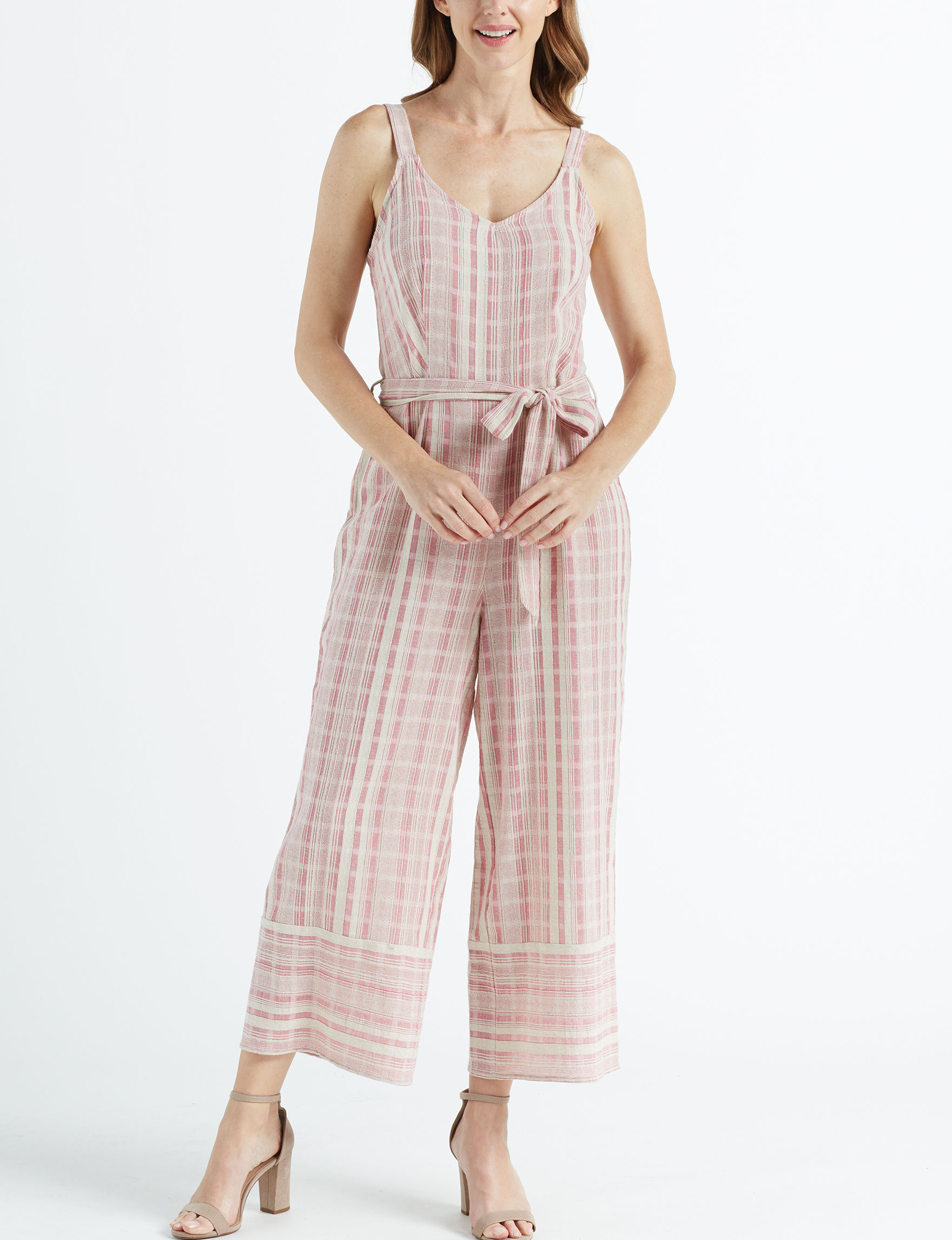 Sharagano Pink Stripe Everyday & Casual Fit & Flare Dresses