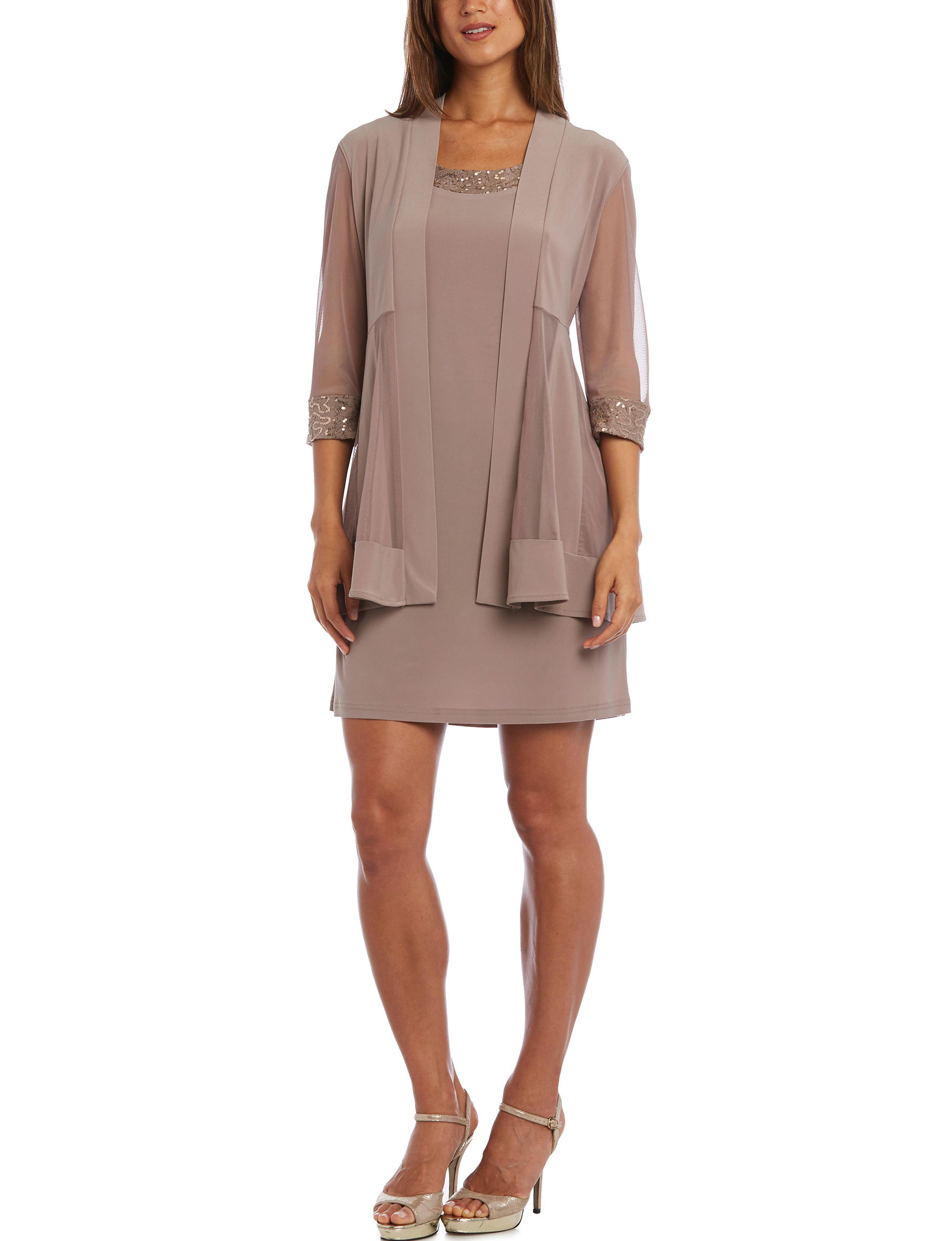 R & M Richards Taupe Cocktail & Party Evening & Formal Jacket Dresses