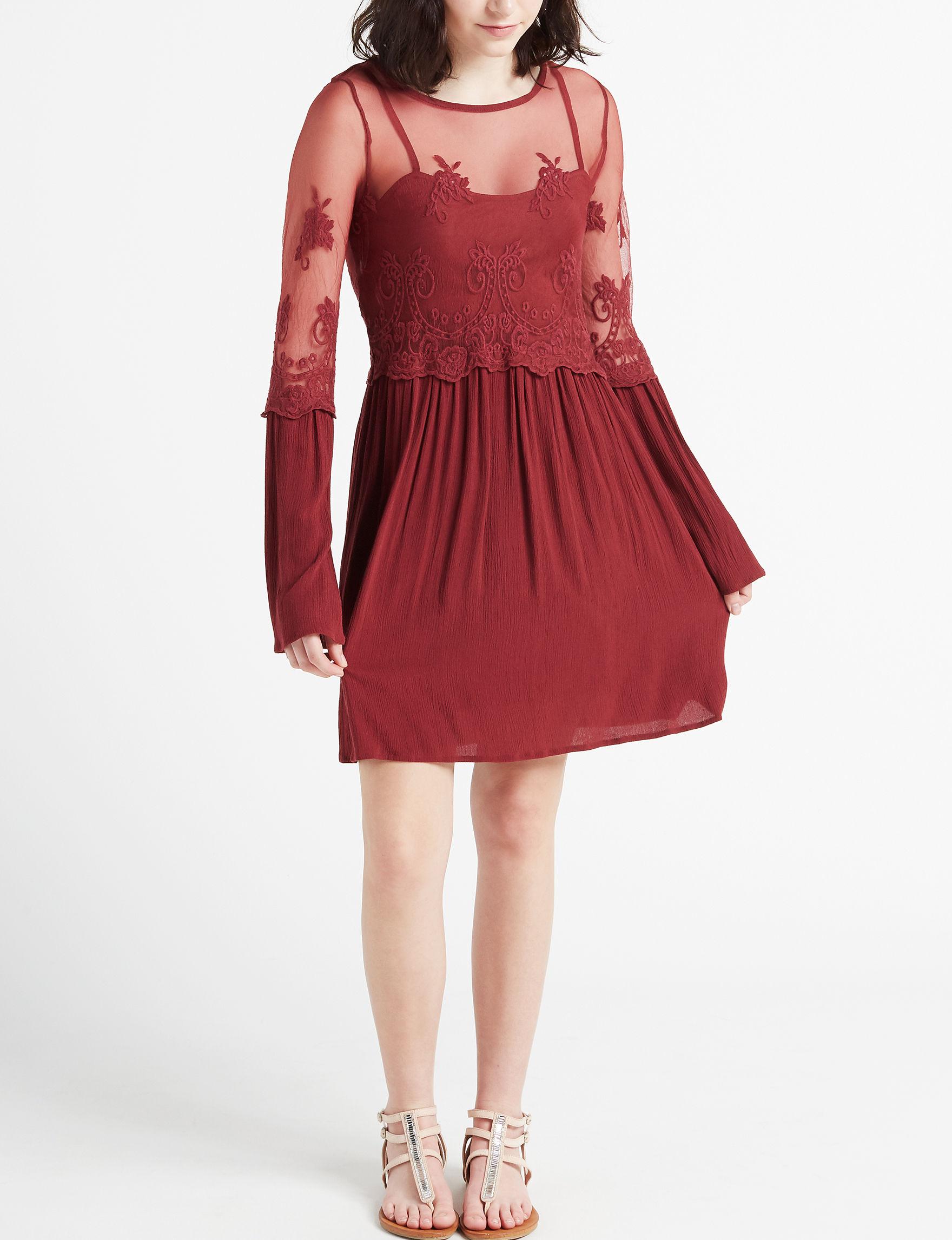 Trixxi Burgundy Everyday & Casual Sheath Dresses