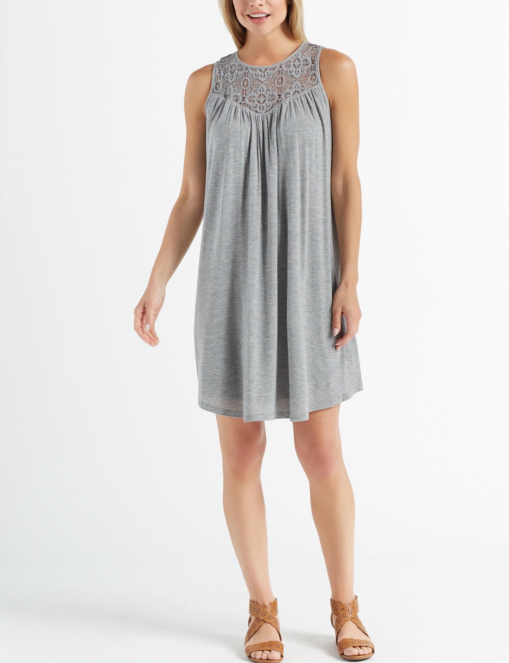 Nina Leonard Light Grey Everyday & Casual Shift Dresses