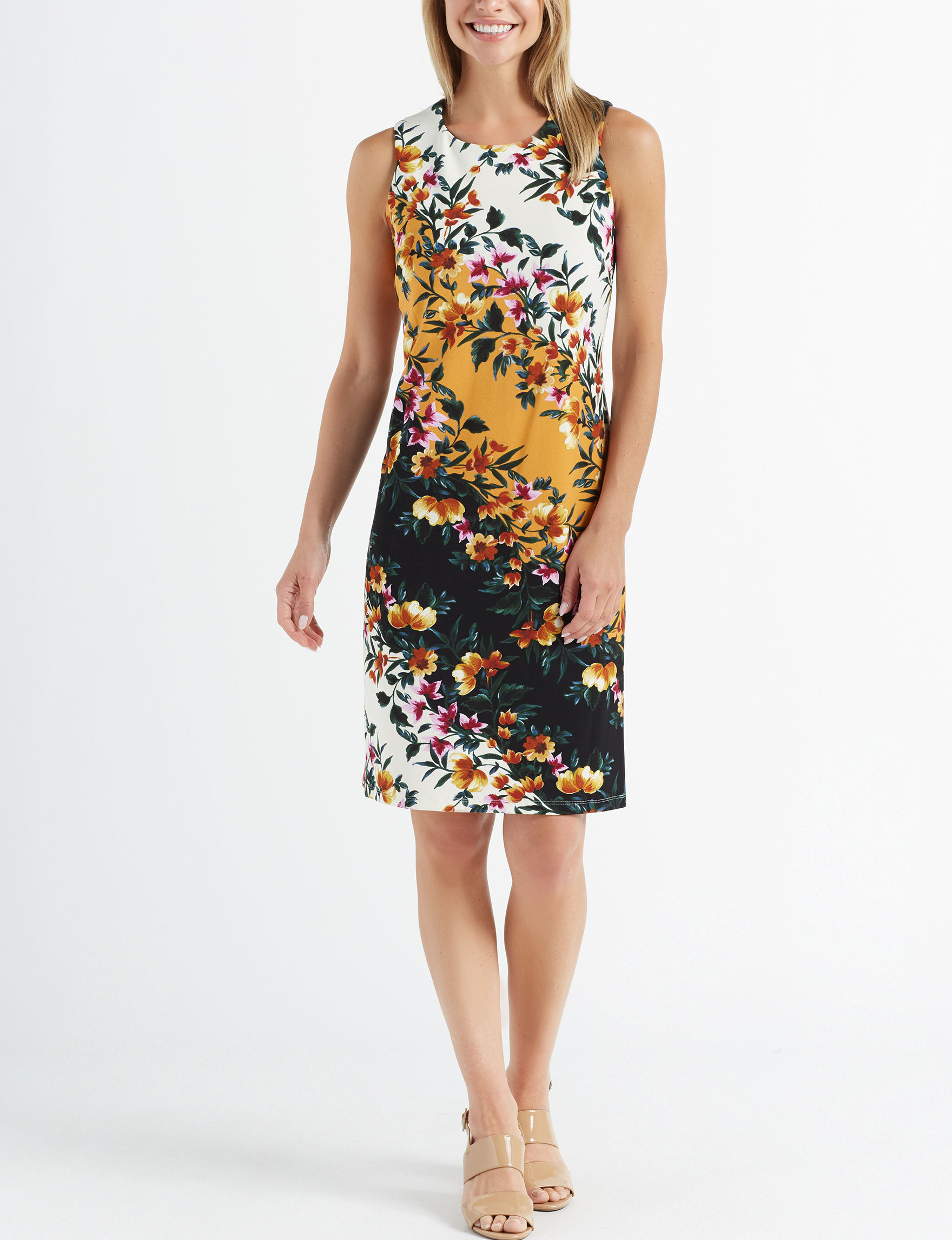 Nina Leonard Yellow Multi Everyday & Casual Shift Dresses