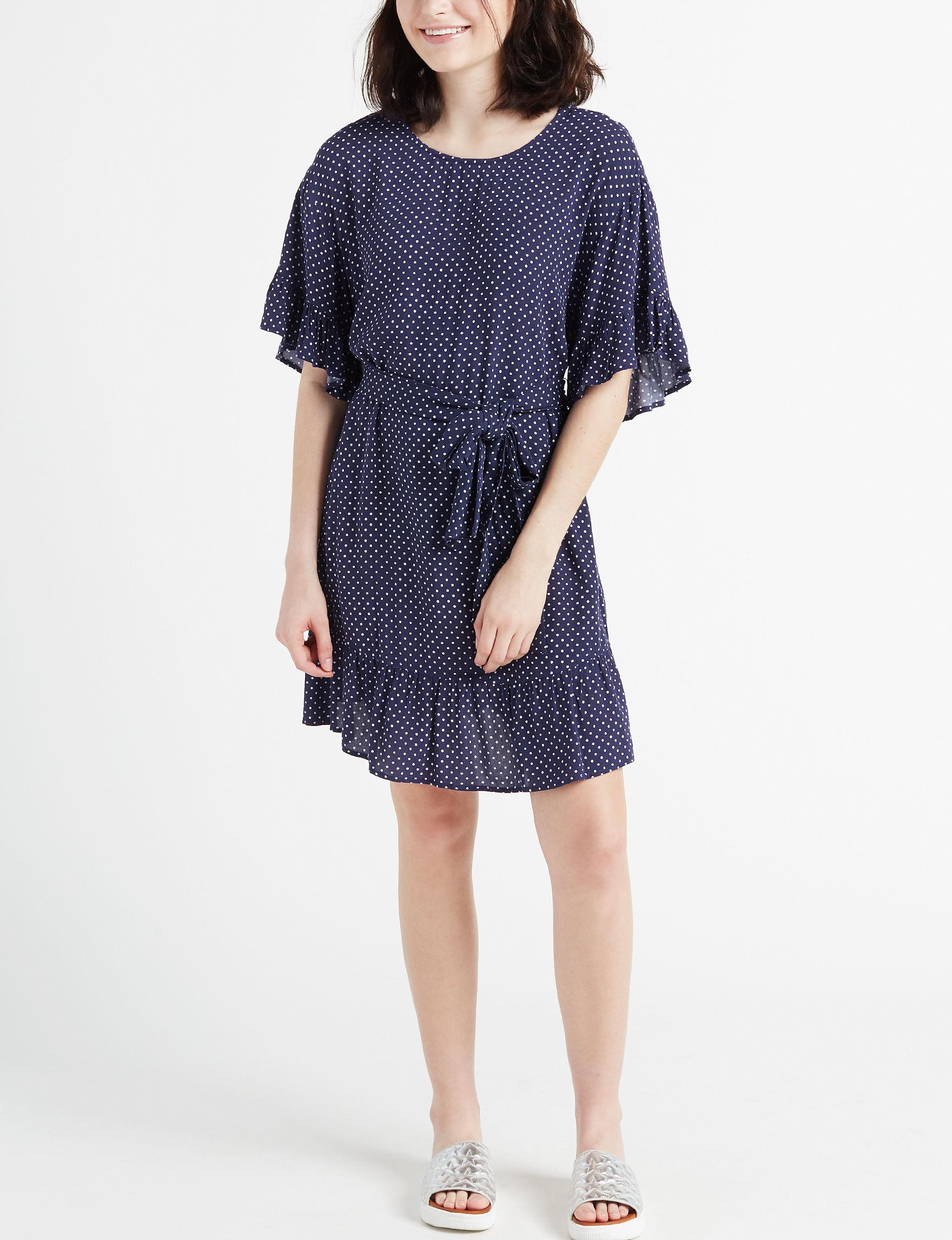 Trixxi Navy / White Everyday & Casual Shift Dresses