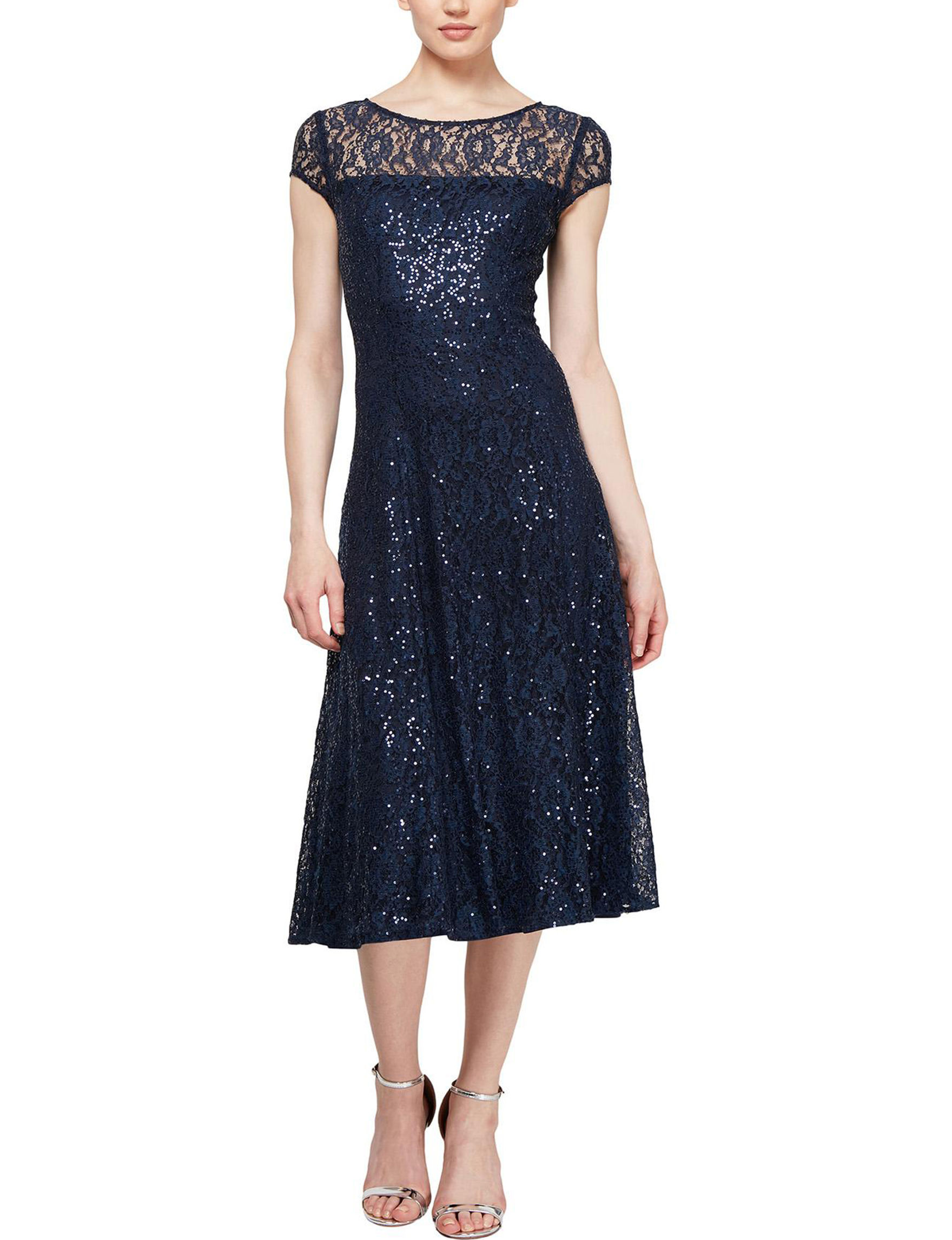 S.L. Fashions Navy Cocktail & Party Evening & Formal A-line Dresses