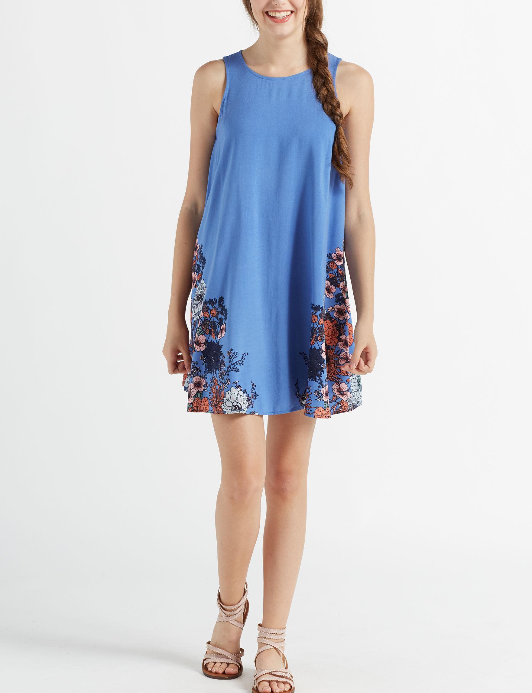 Taylor & Sage Blue Floral Everyday & Casual Shift Dresses