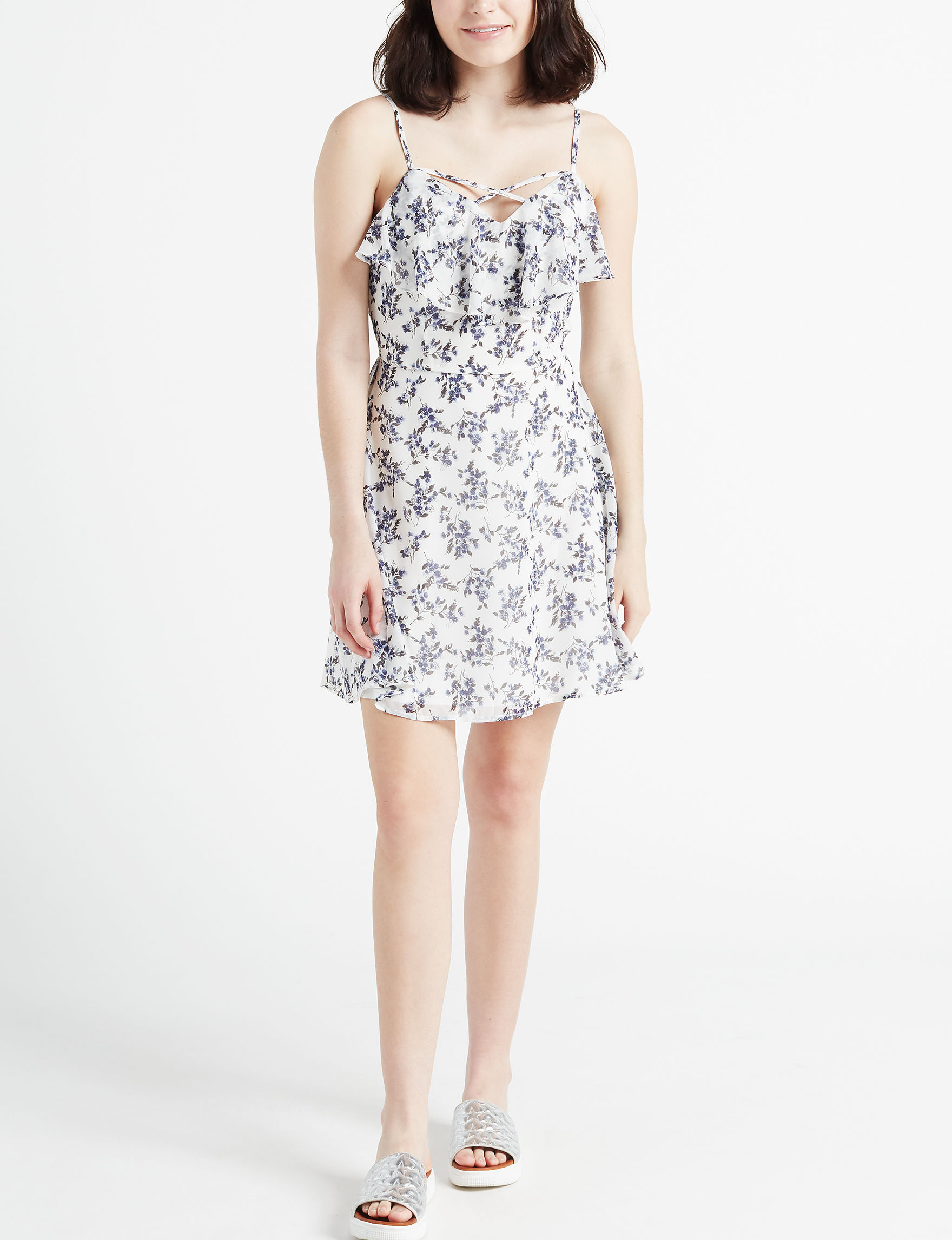 Trixxi White / Navy Everyday & Casual Fit & Flare Dresses