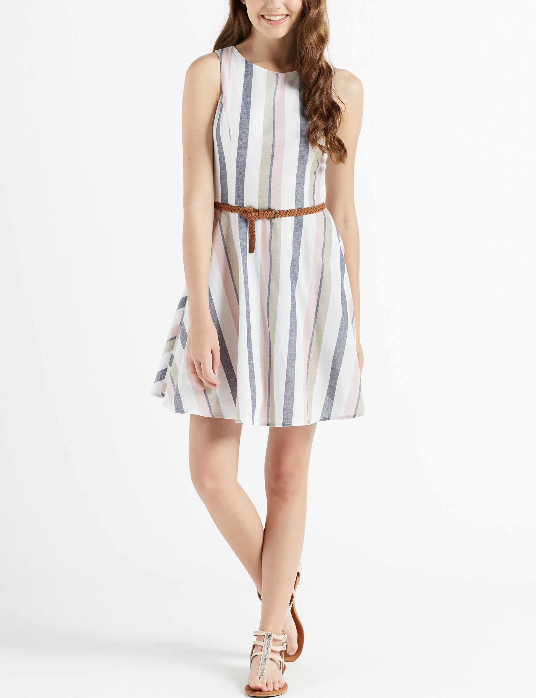 Bailey Blue White Everyday & Casual Fit & Flare Dresses