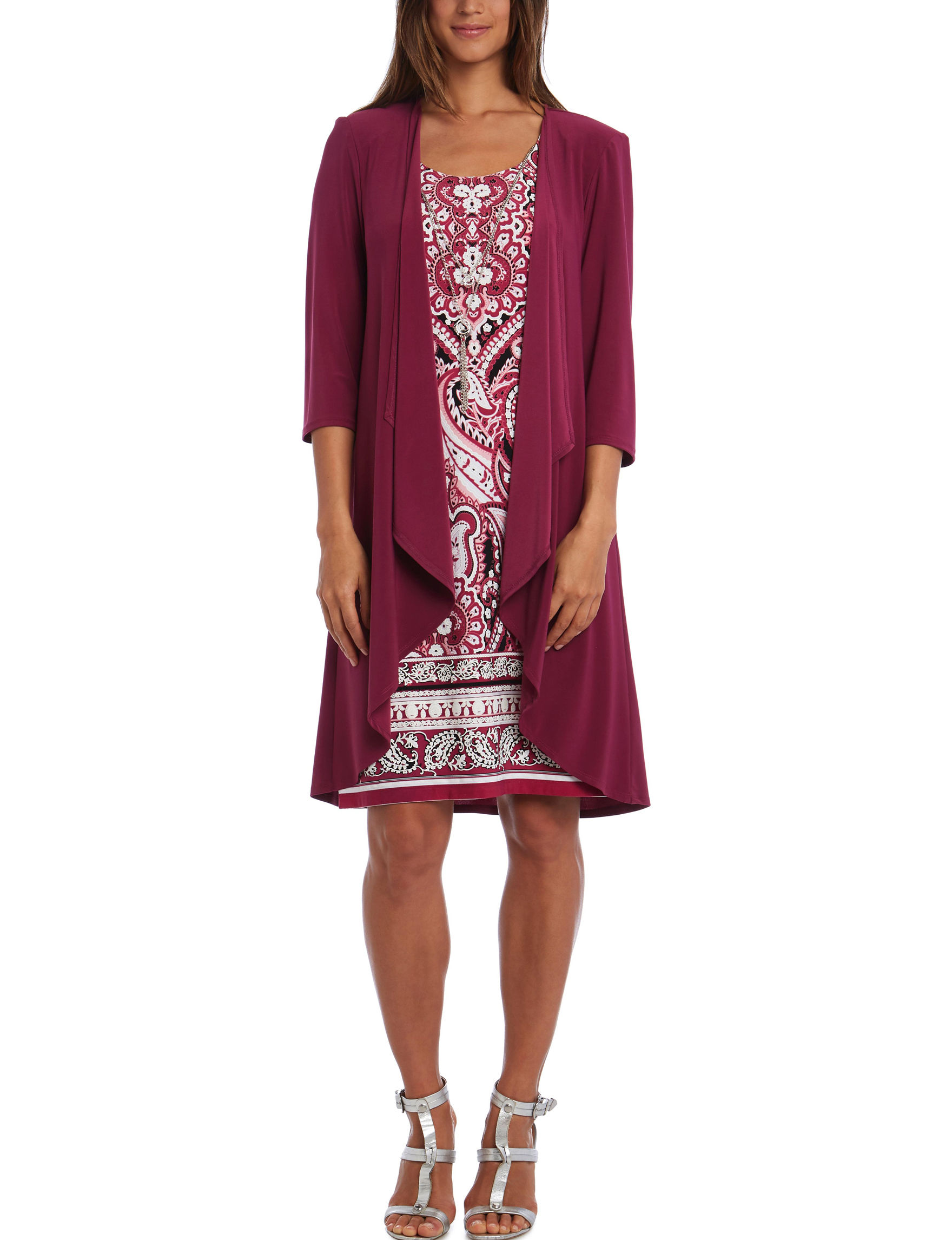 R & M Richards Magenta / White Everyday & Casual Jacket Dresses