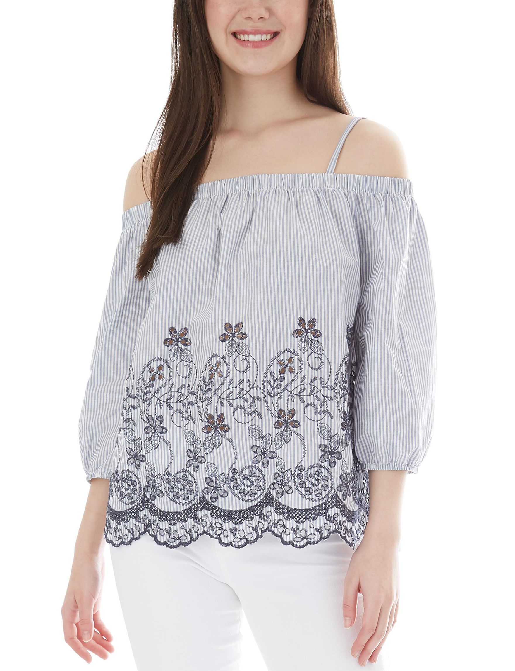 A. Byer White Stripe Shirts & Blouses