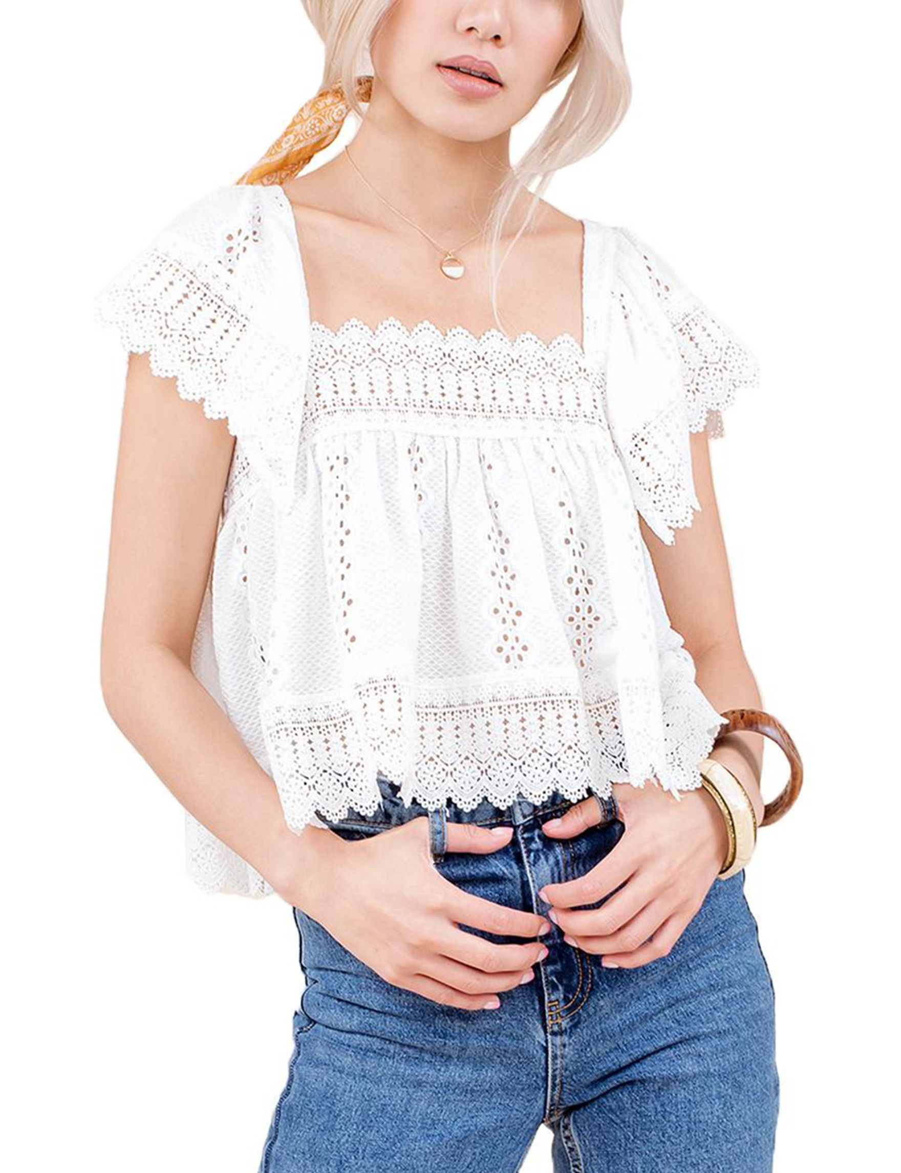 C + J Collections White Crop Tops Shirts & Blouses