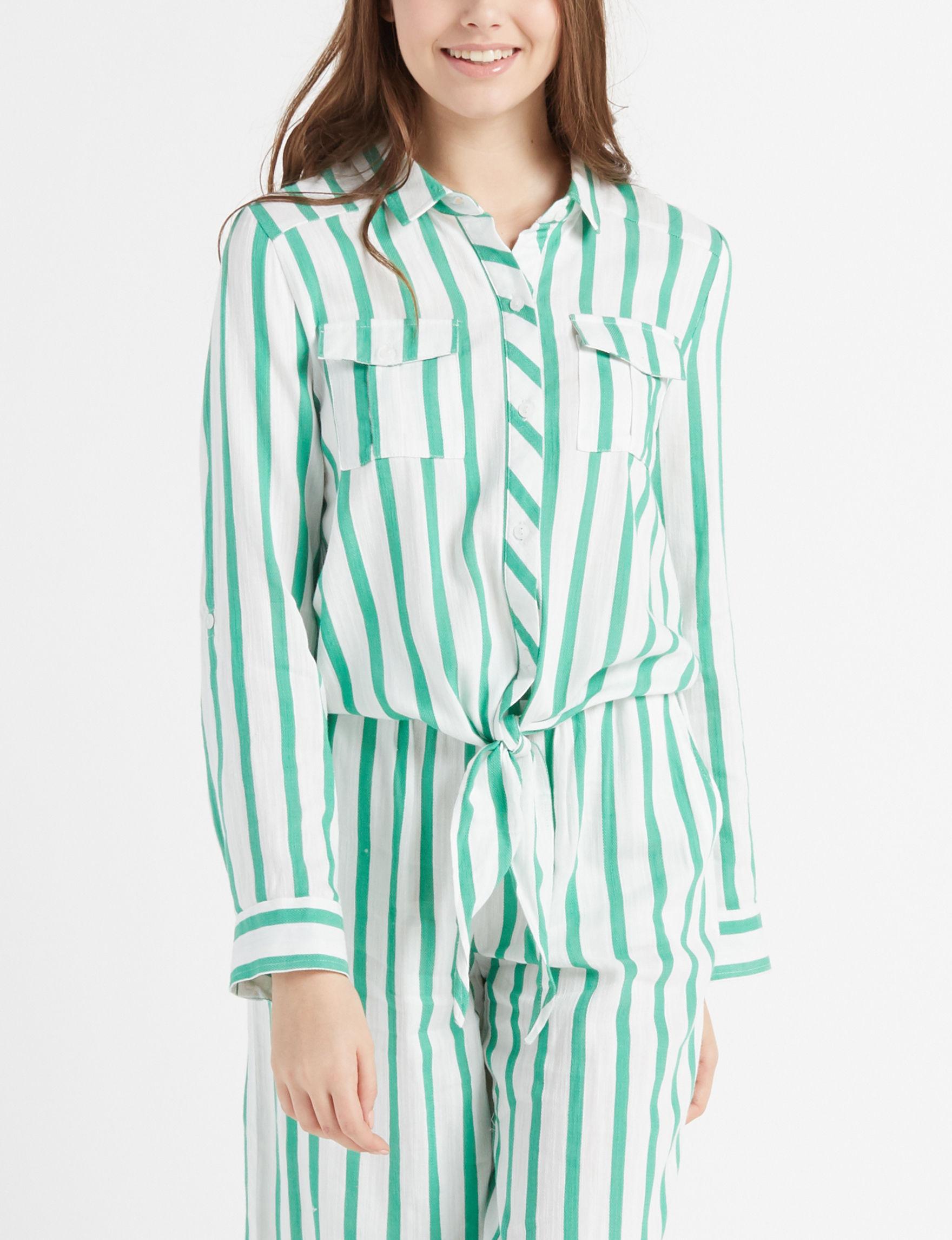 Leighton White / Green Shirts & Blouses