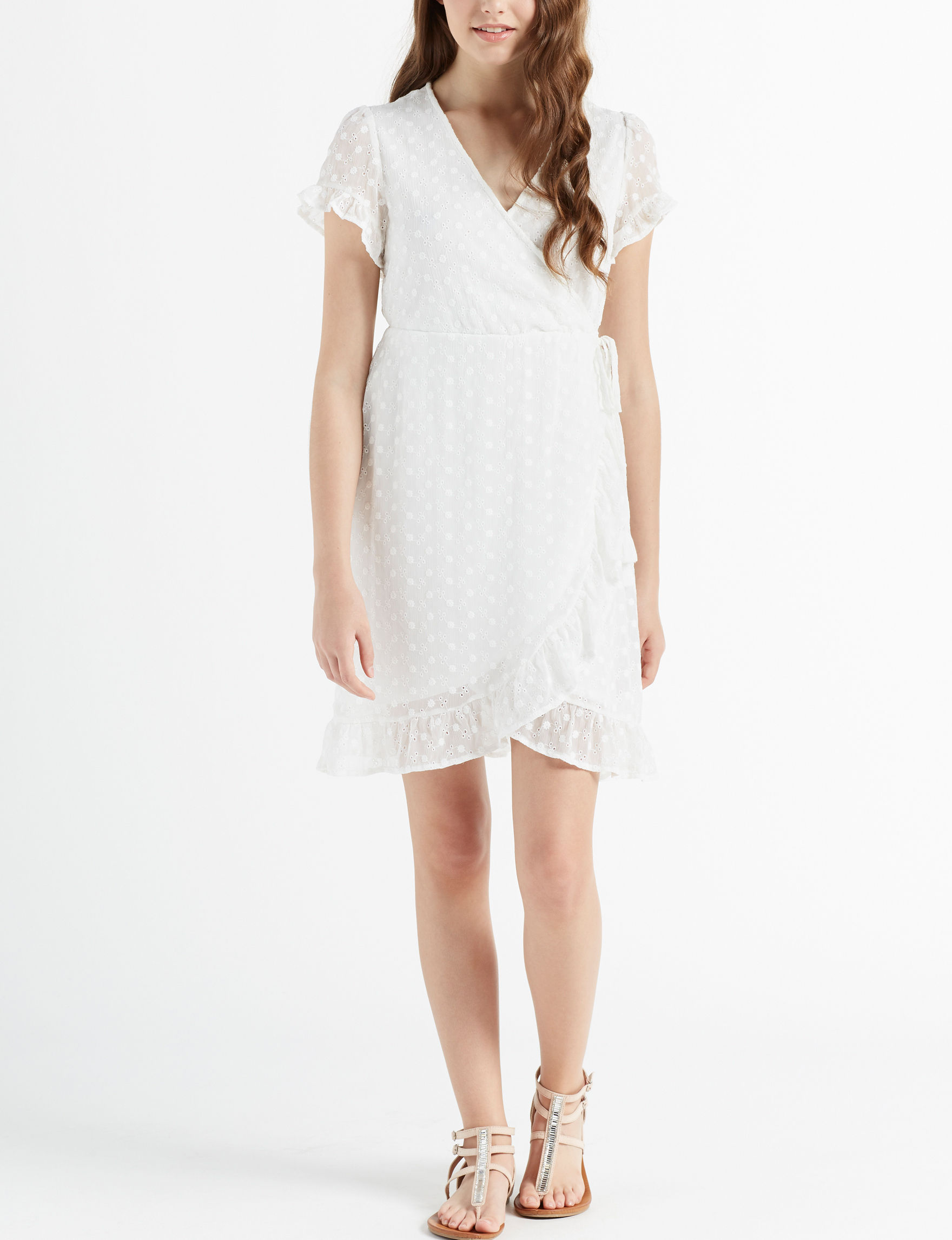 Inspired Hearts White Everyday & Casual Fit & Flare Dresses