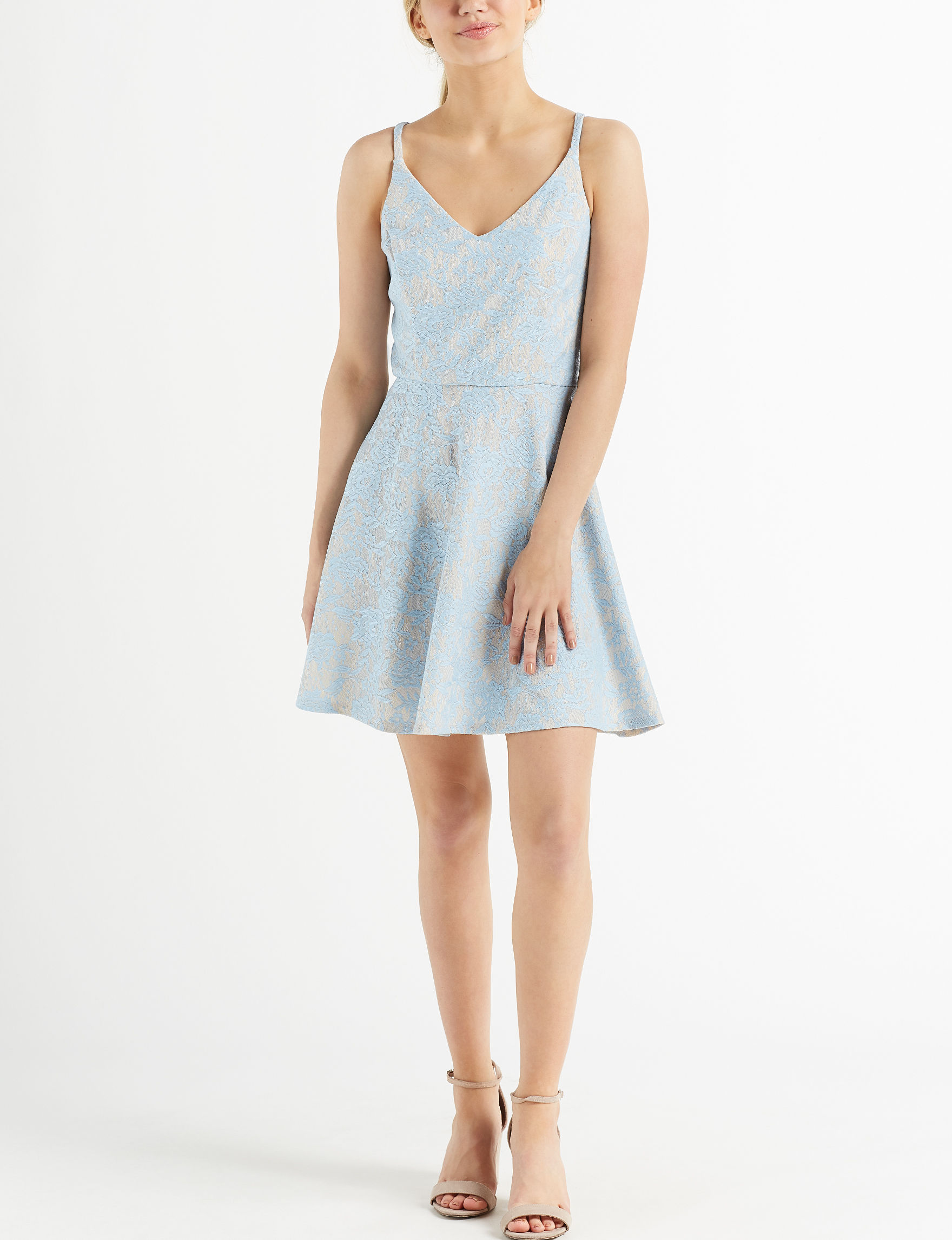 Speechless Blue / Beige Cocktail & Party Evening & Formal Fit & Flare Dresses