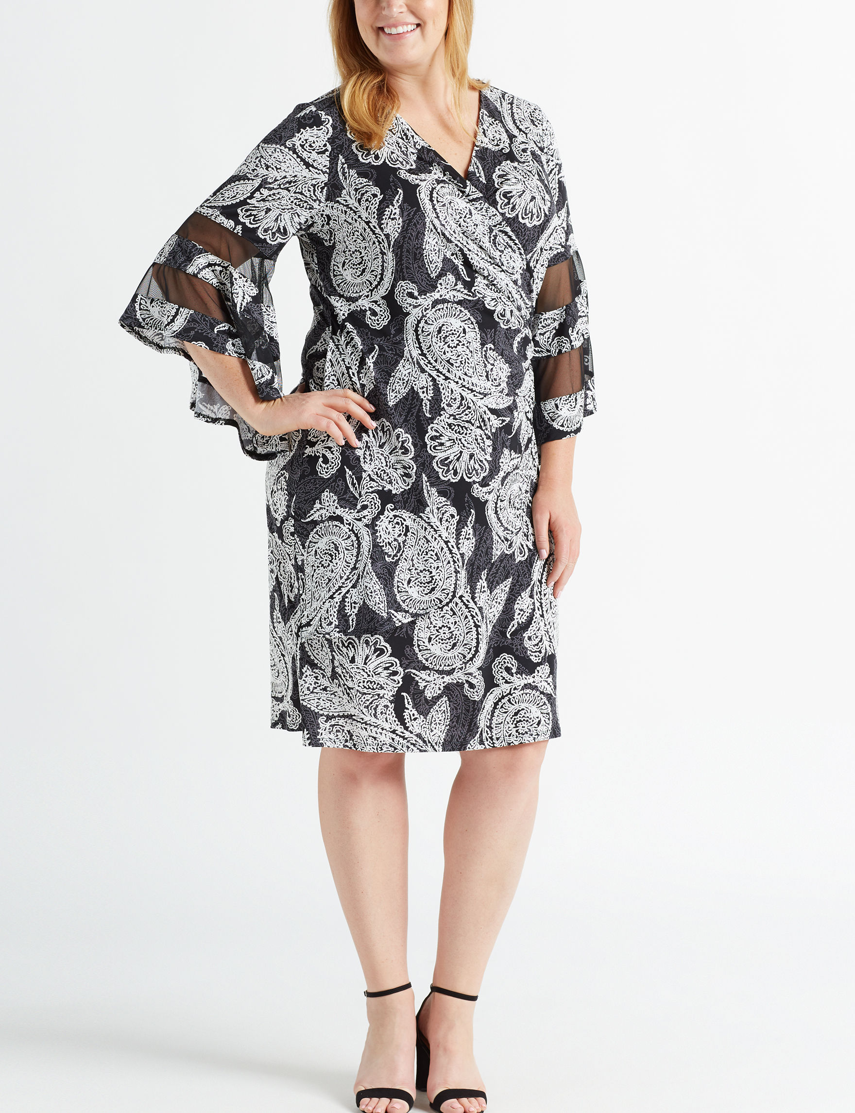 R & M Richards Black / Taupe Everyday & Casual Shift Dresses