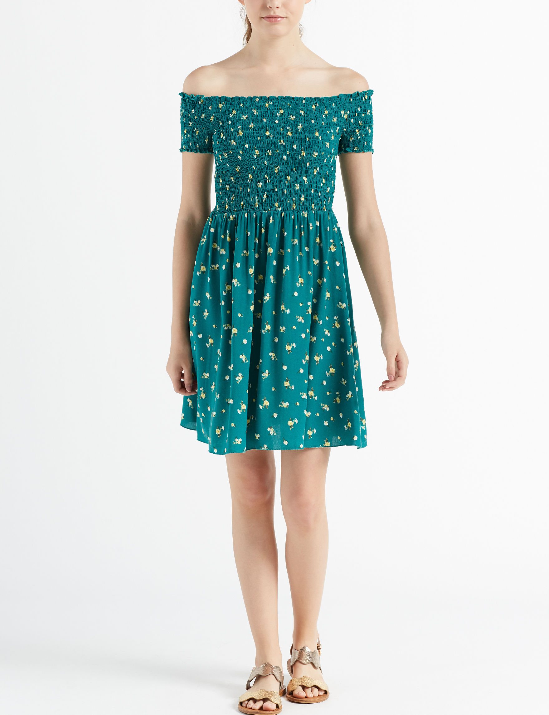 Wishful Park Green Everyday & Casual Fit & Flare Dresses