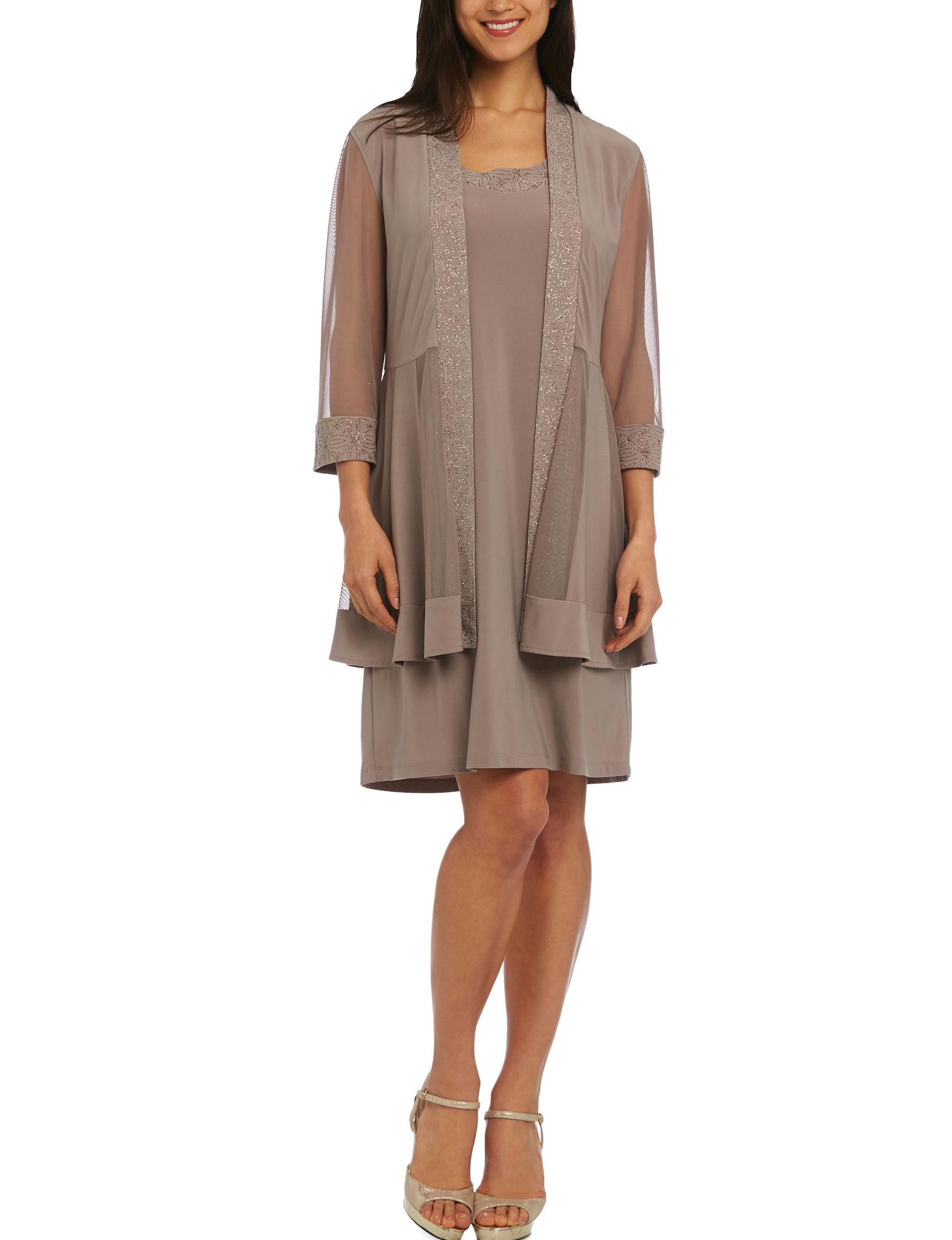 R & M Richards Taupe Everyday & Casual Jacket Dresses