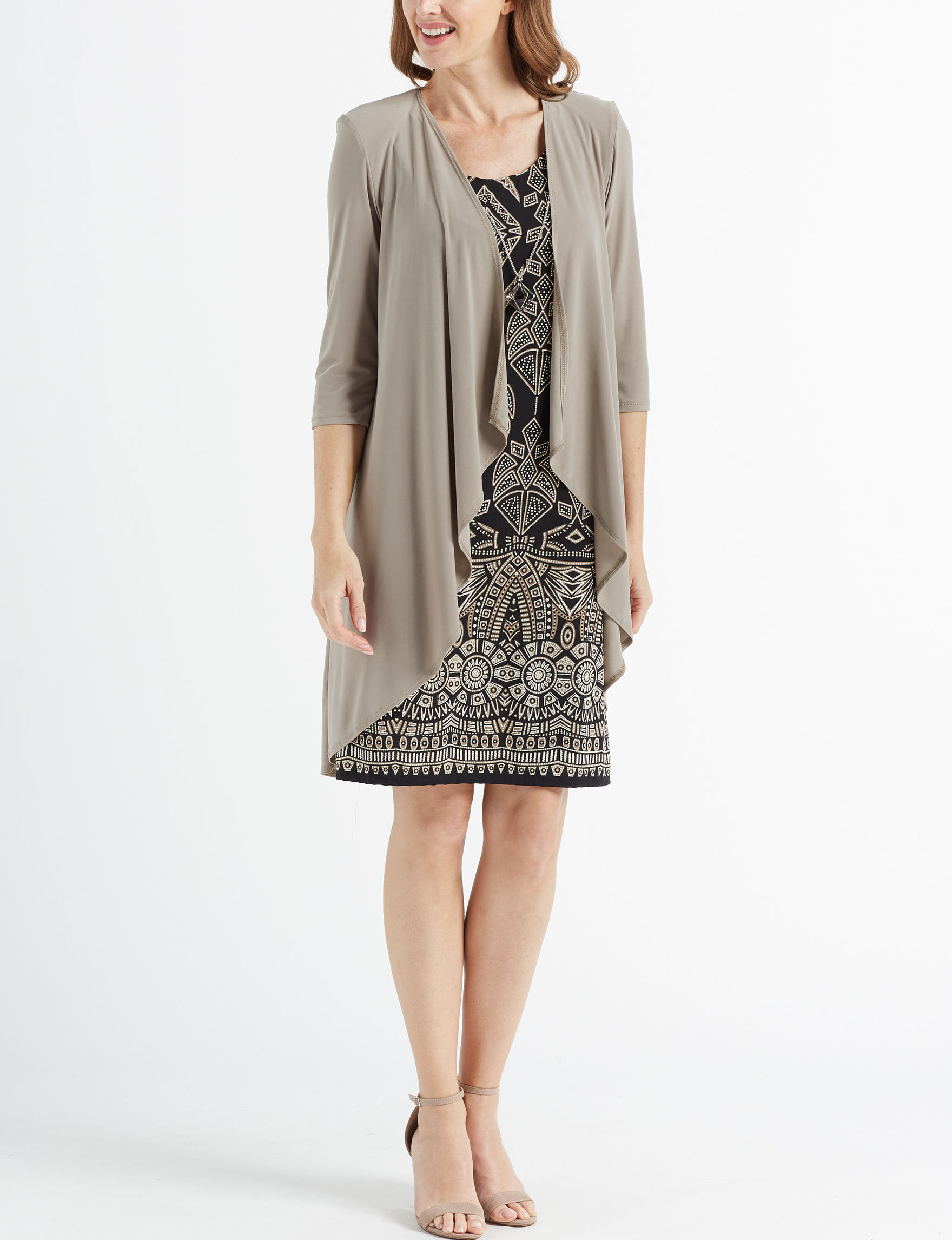 R & M Richards Taupe / Black Everyday & Casual Jacket Dresses