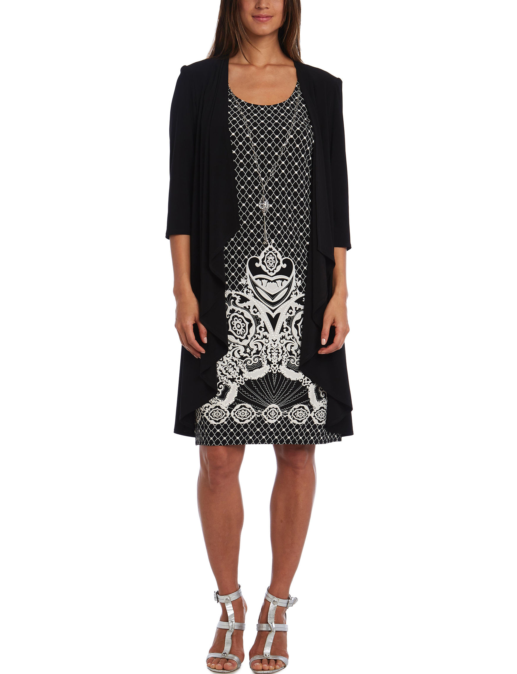 R & M Richards Black / White Everyday & Casual Jacket Dresses Shift Dresses