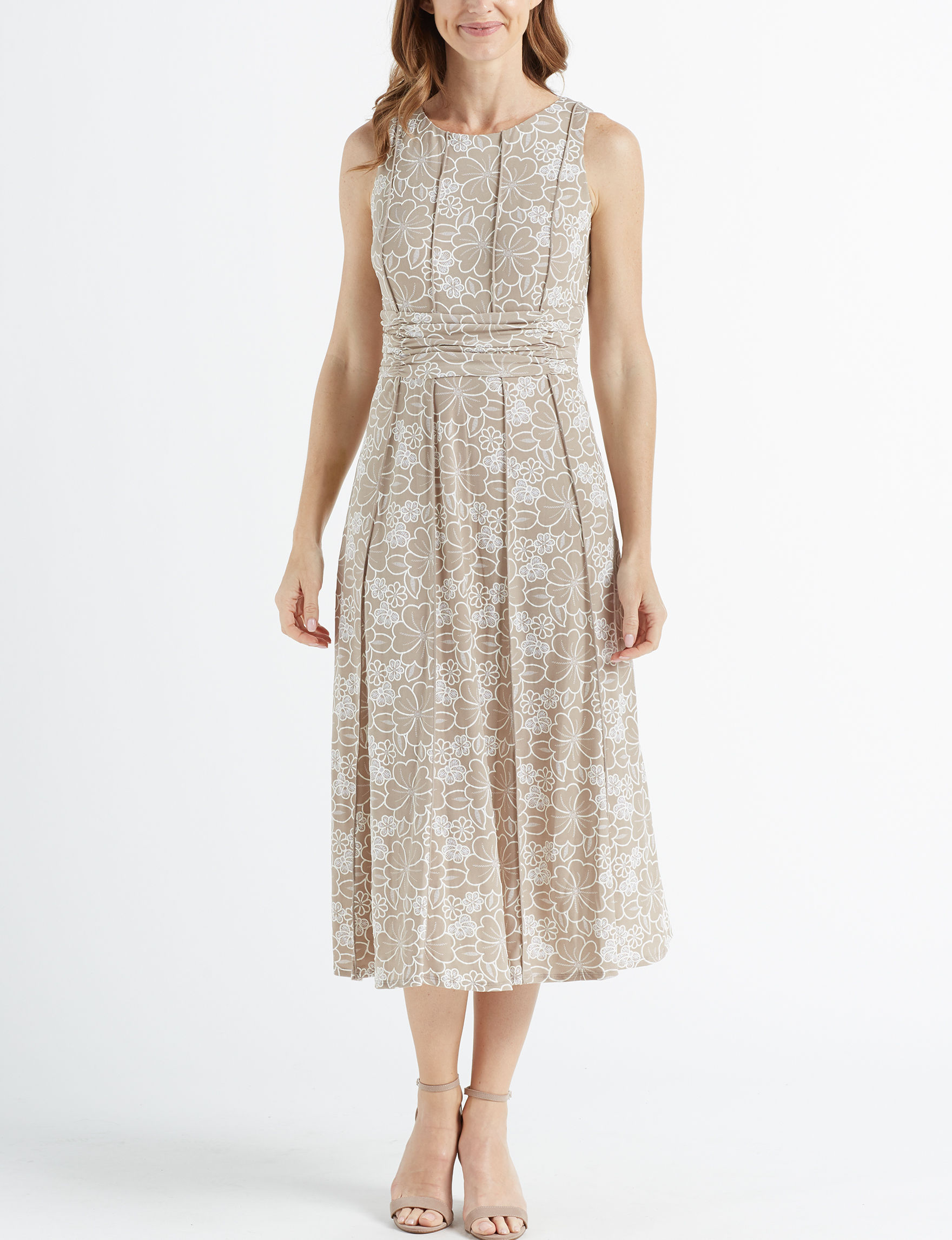 Perceptions Taupe/ White Everyday & Casual A-line Dresses