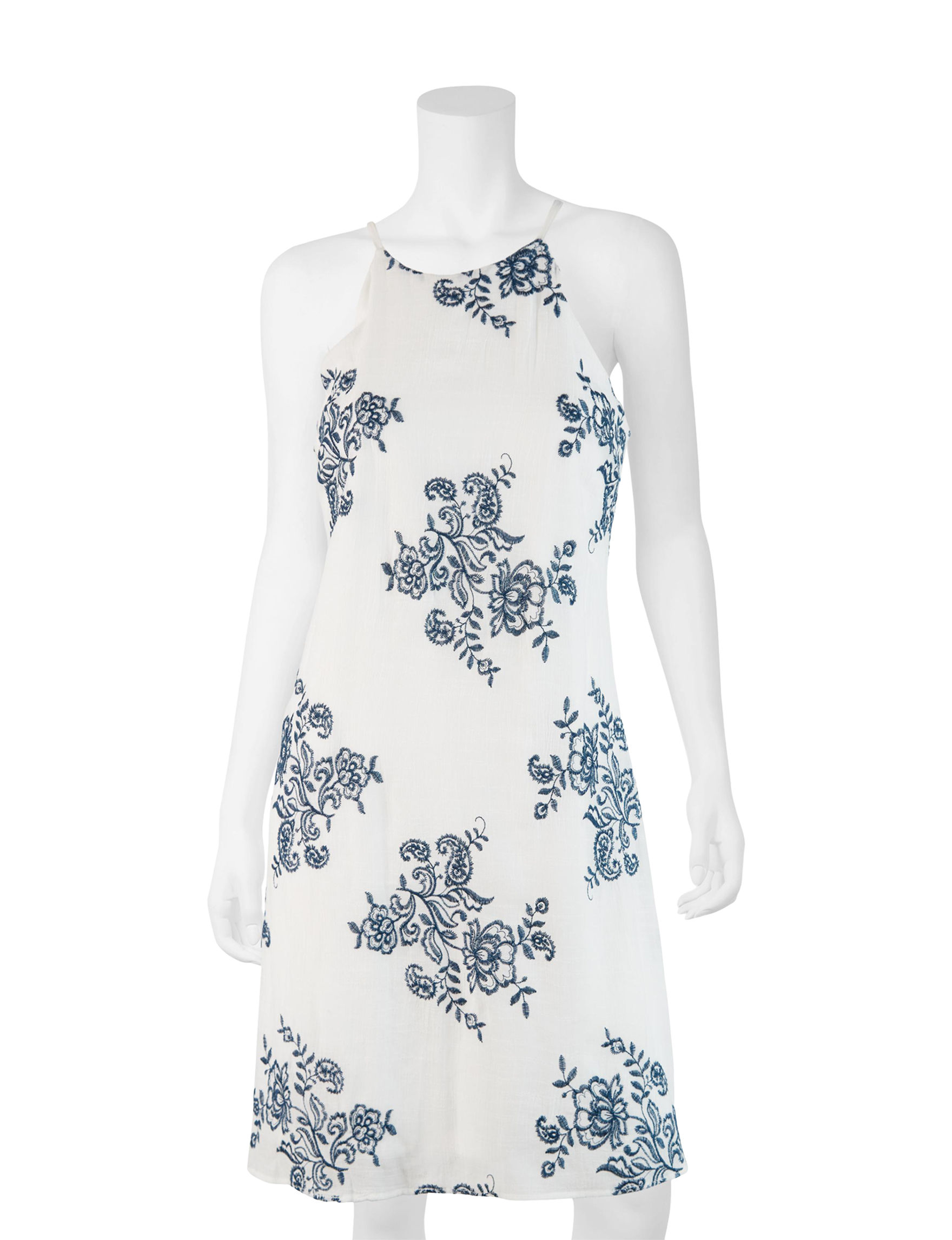 A. Byer White / Multi Everyday & Casual Halter Shift Dresses