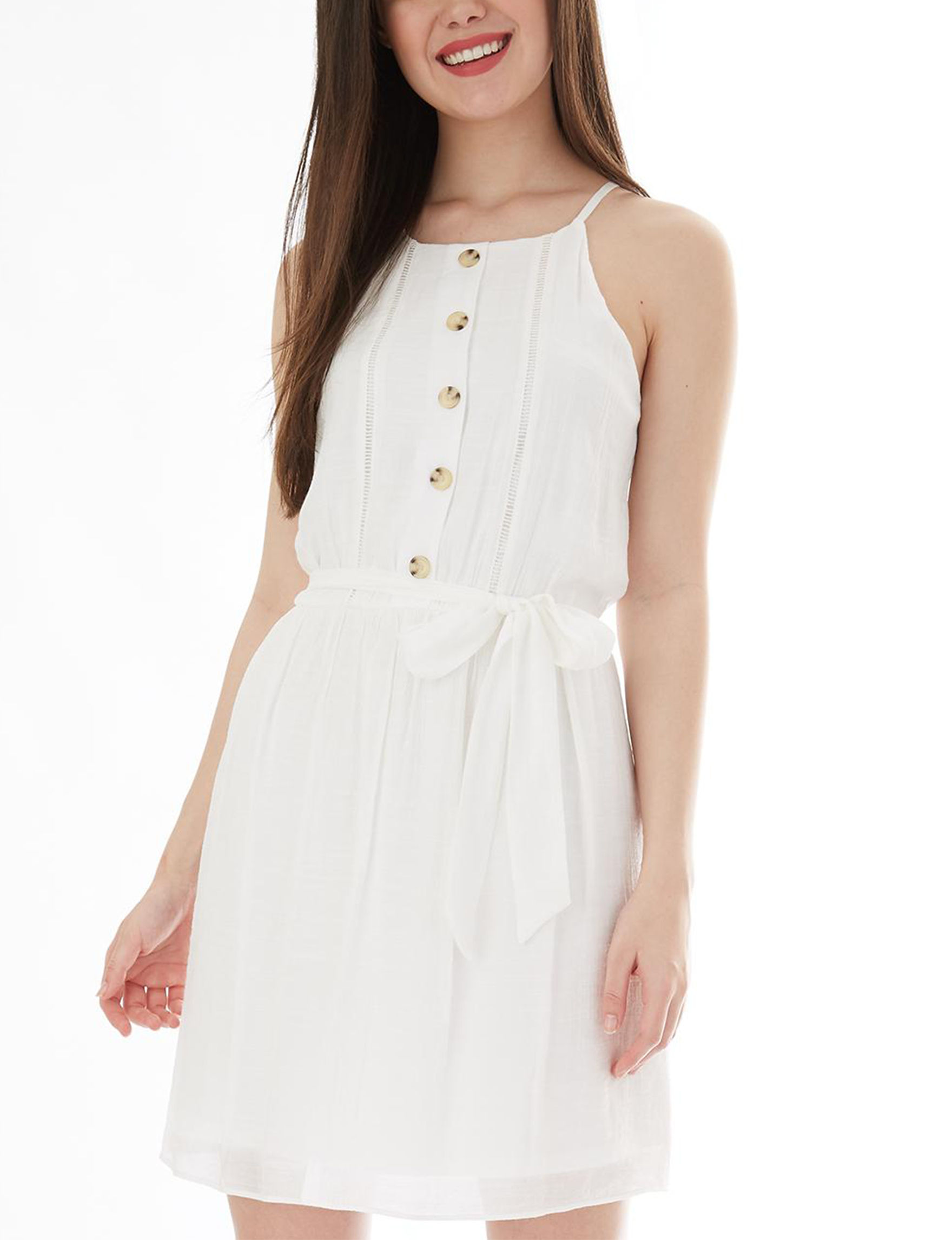 A. Byer White Everyday & Casual Fit & Flare Dresses Halter