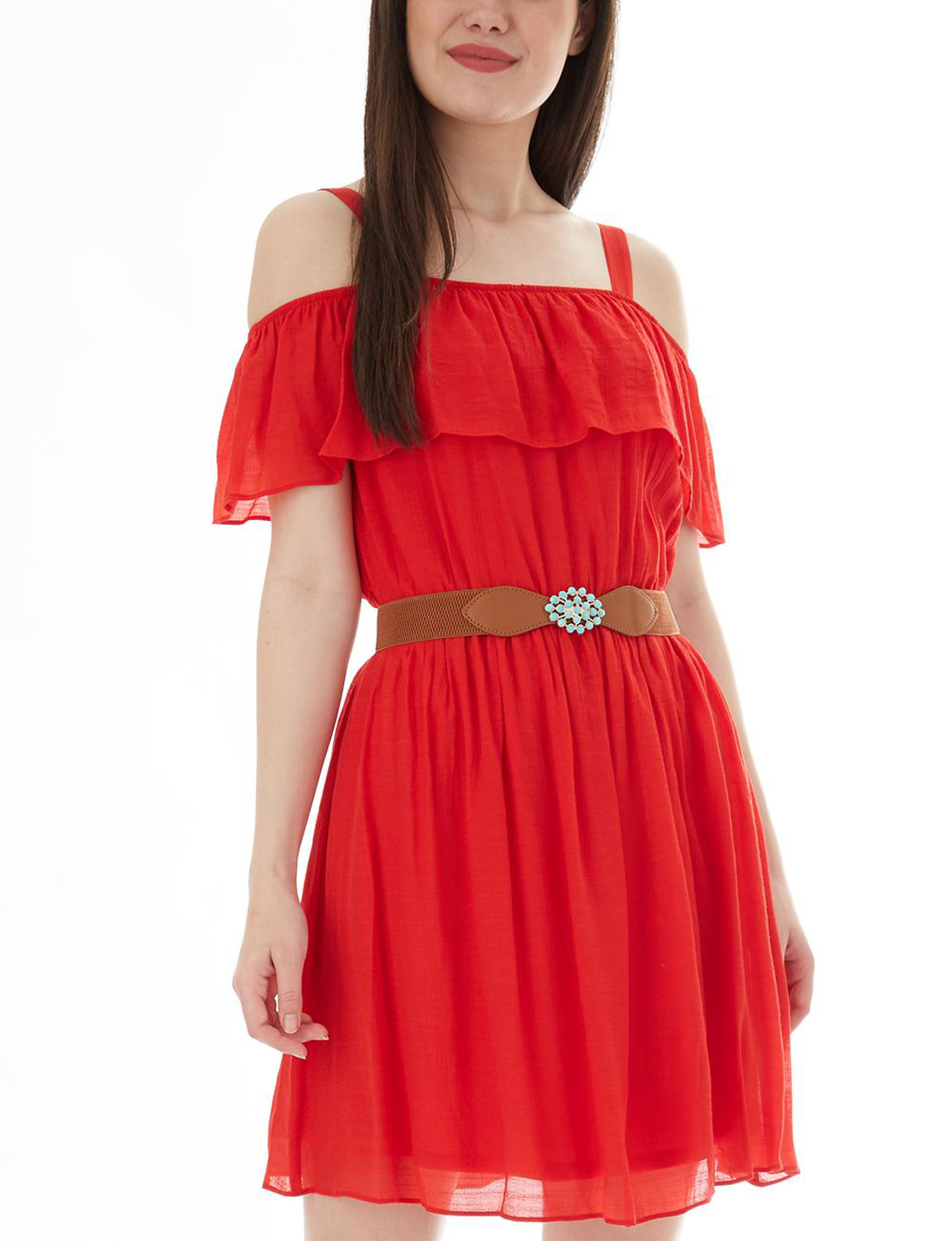 A. Byer Red Everyday & Casual Fit & Flare Dresses